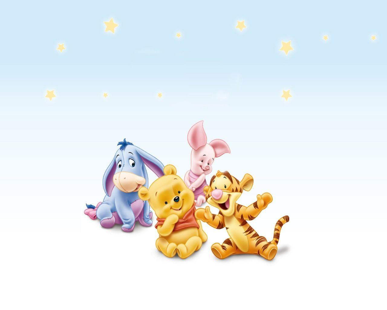 It is a graphic of Exhilarating Baby Winnie the Pooh and Friends