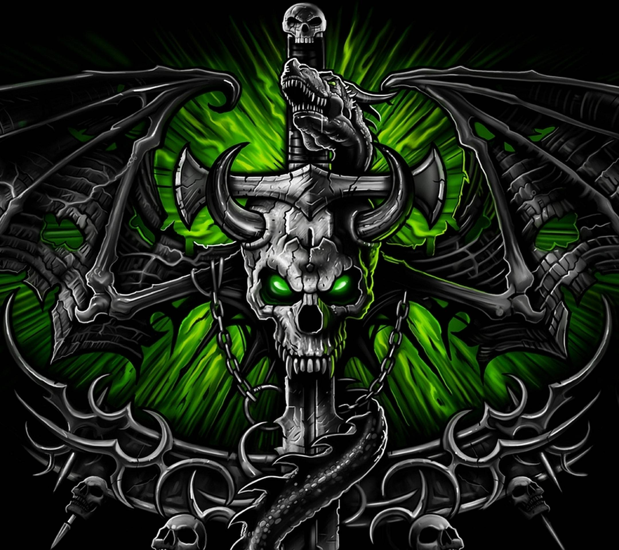 Wallpapers For > Green Skull Wallpapers