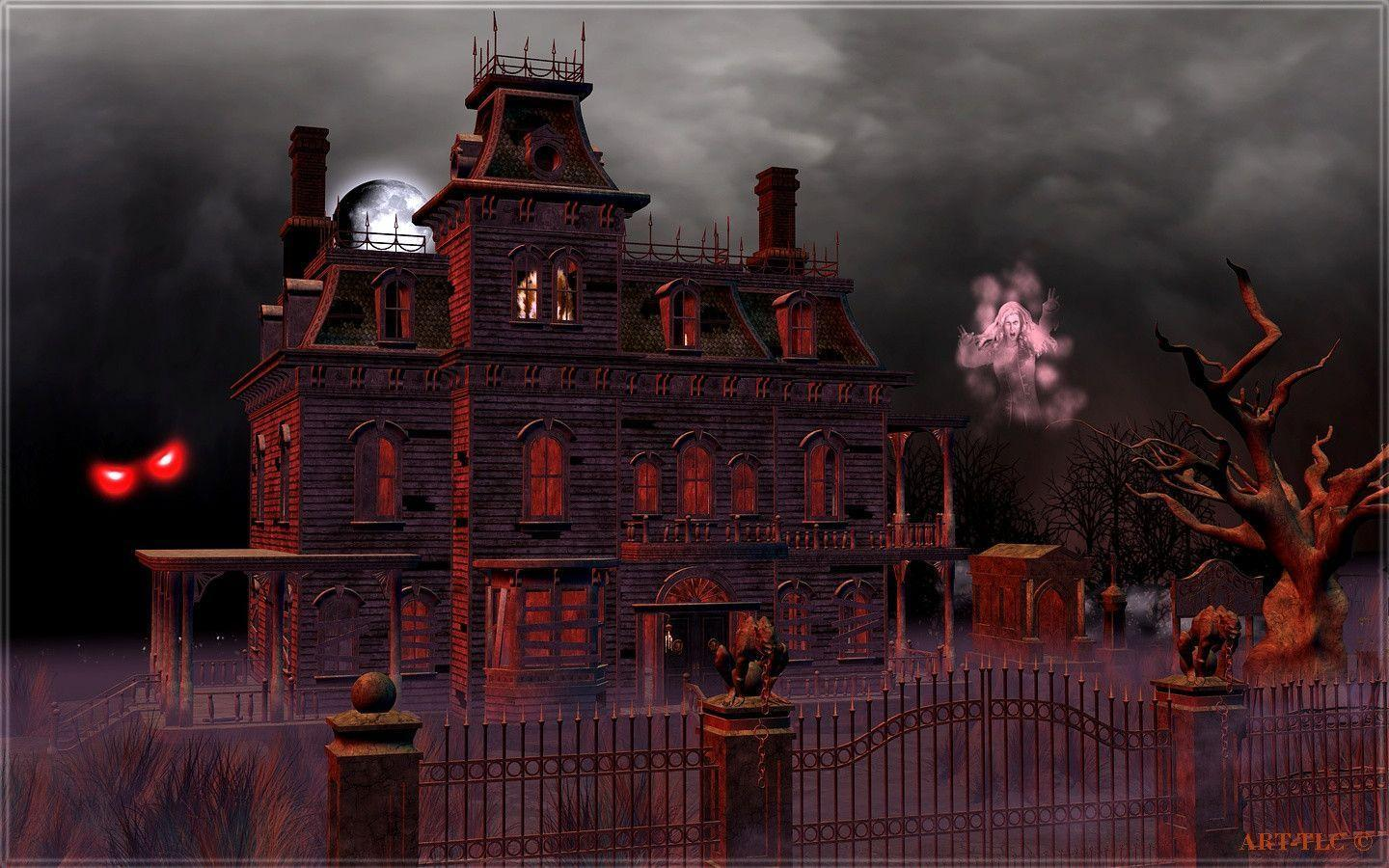 Haunted house wallpapers desktop wallpaper cave for Wallpaper for house wall