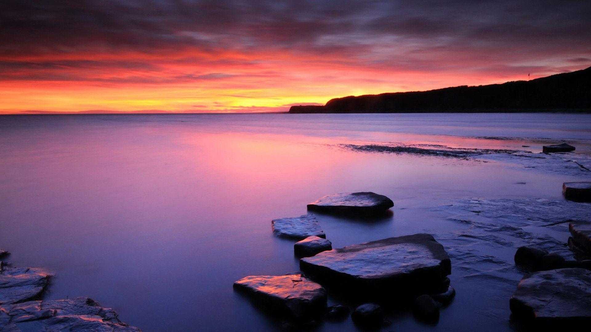 Landscapes seascape sunset sunrise ocean sea sky clouds stone rock