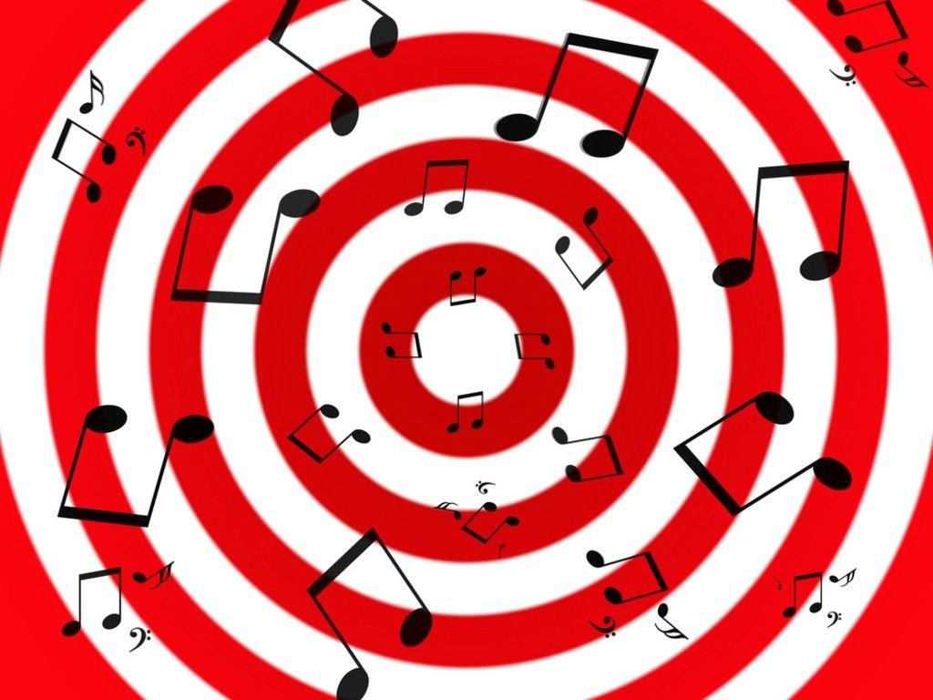 Black Music Notes On A Radial White And Red Background Cute