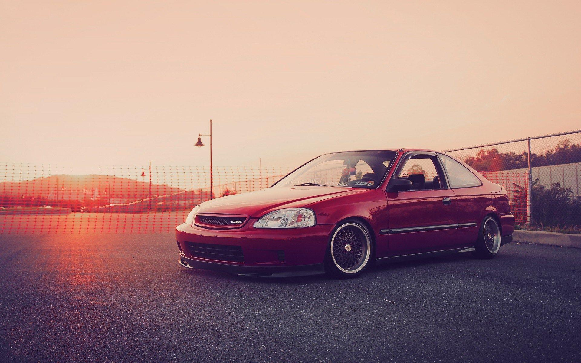 Red Honda Civic Sunset HD Wallpapers