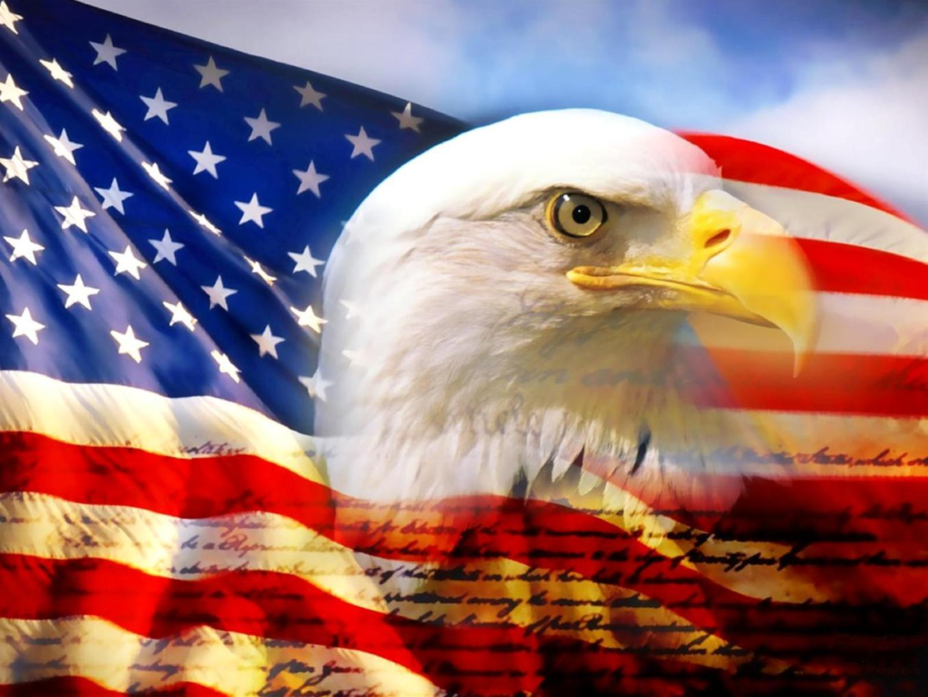 Waving American Flag With Eagle