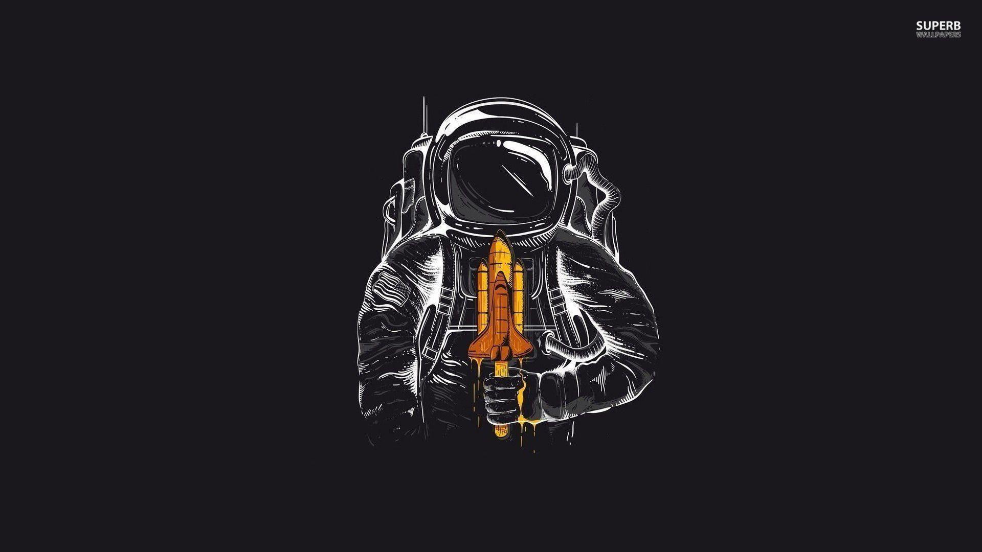 astronaut black background - photo #30