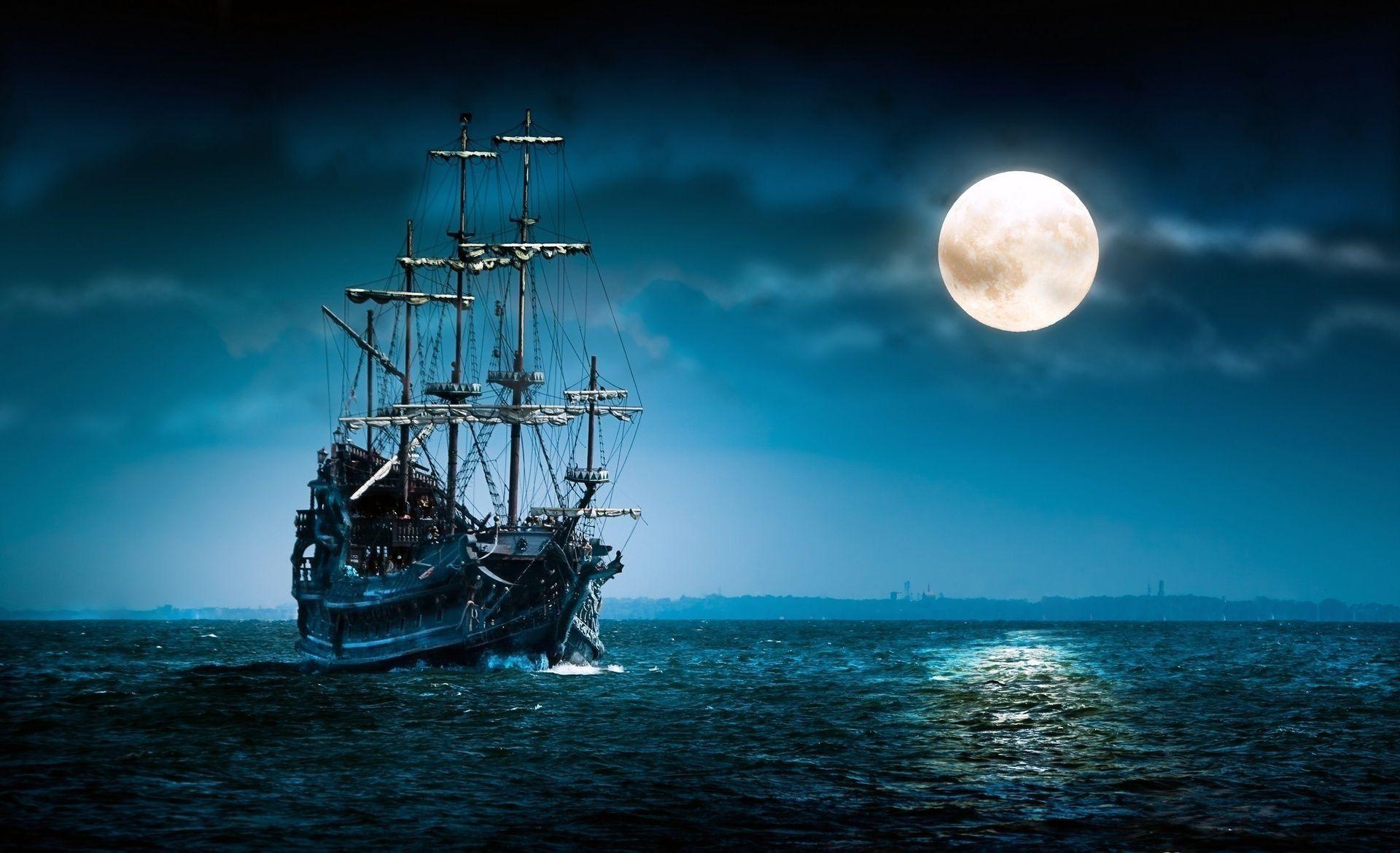 Full Moon Night Ship - NineWallpaper