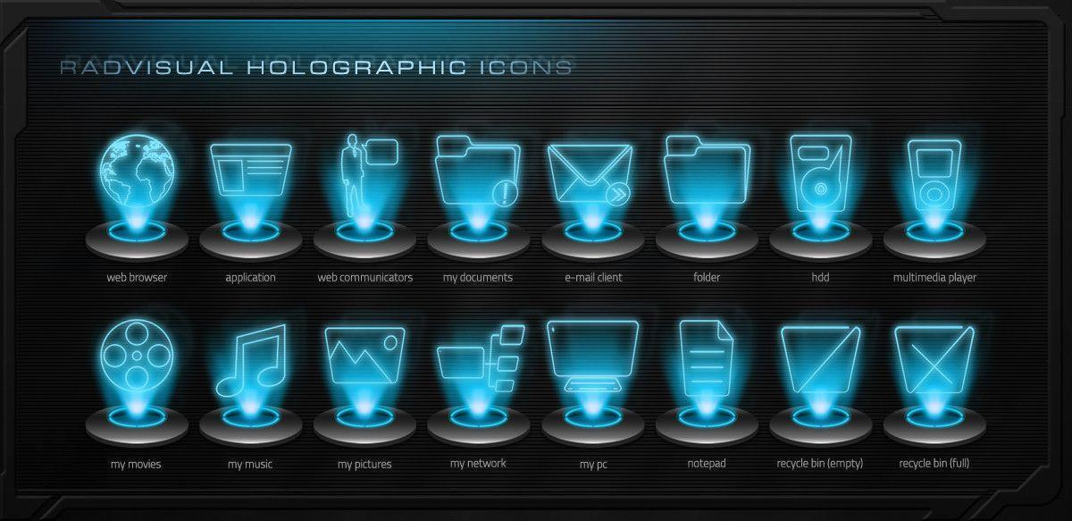DeviantArt: More Like Holographic Icon Pack v.1.2 by RadVisual