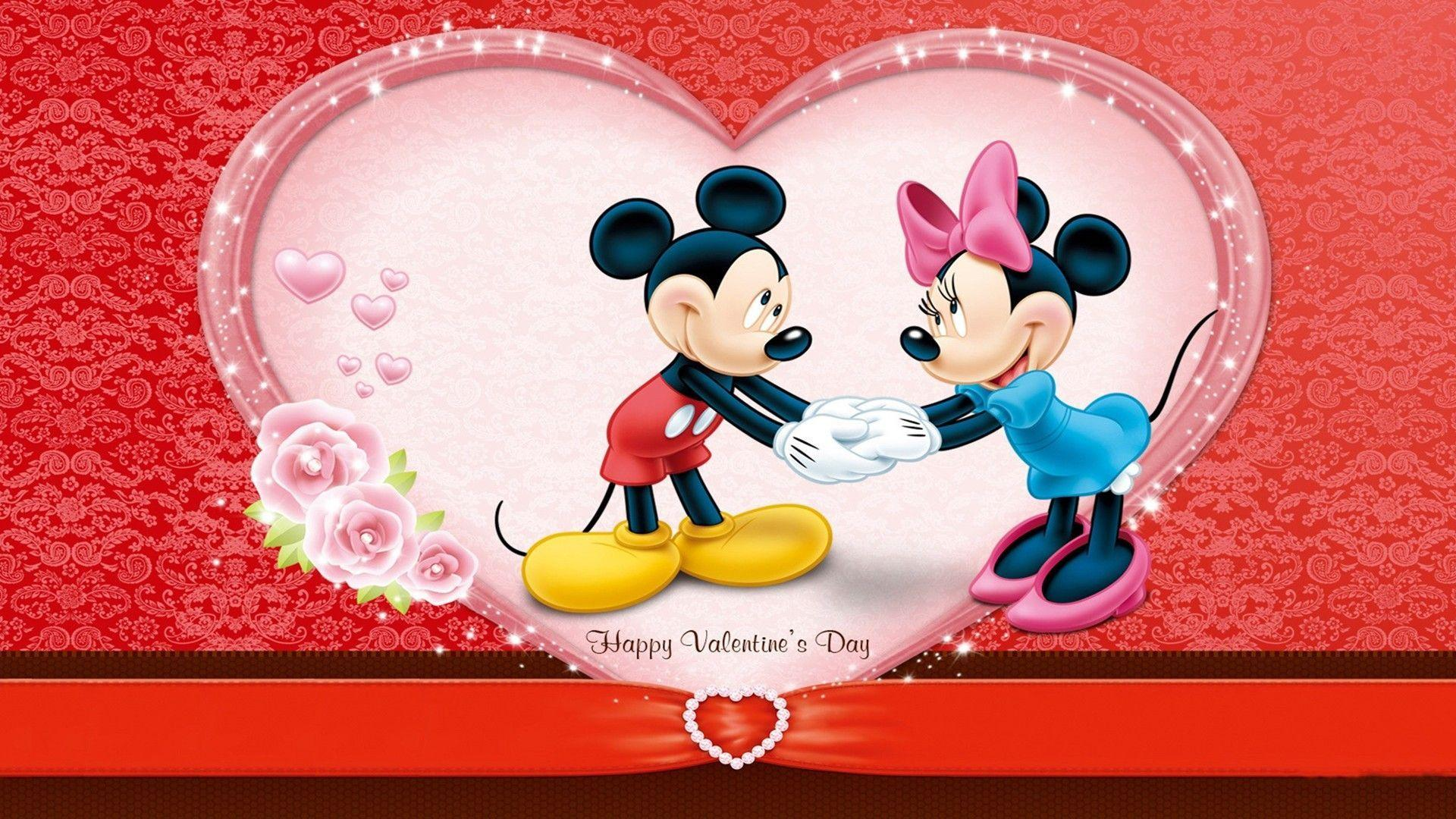 Cute Mickey Wishes Happy Valentines Day Wallpa #12086 Wallpaper ...