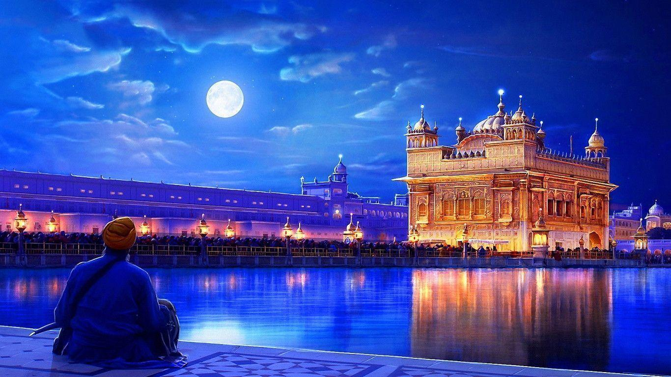 1366x768 Golden temple india Wallpaper