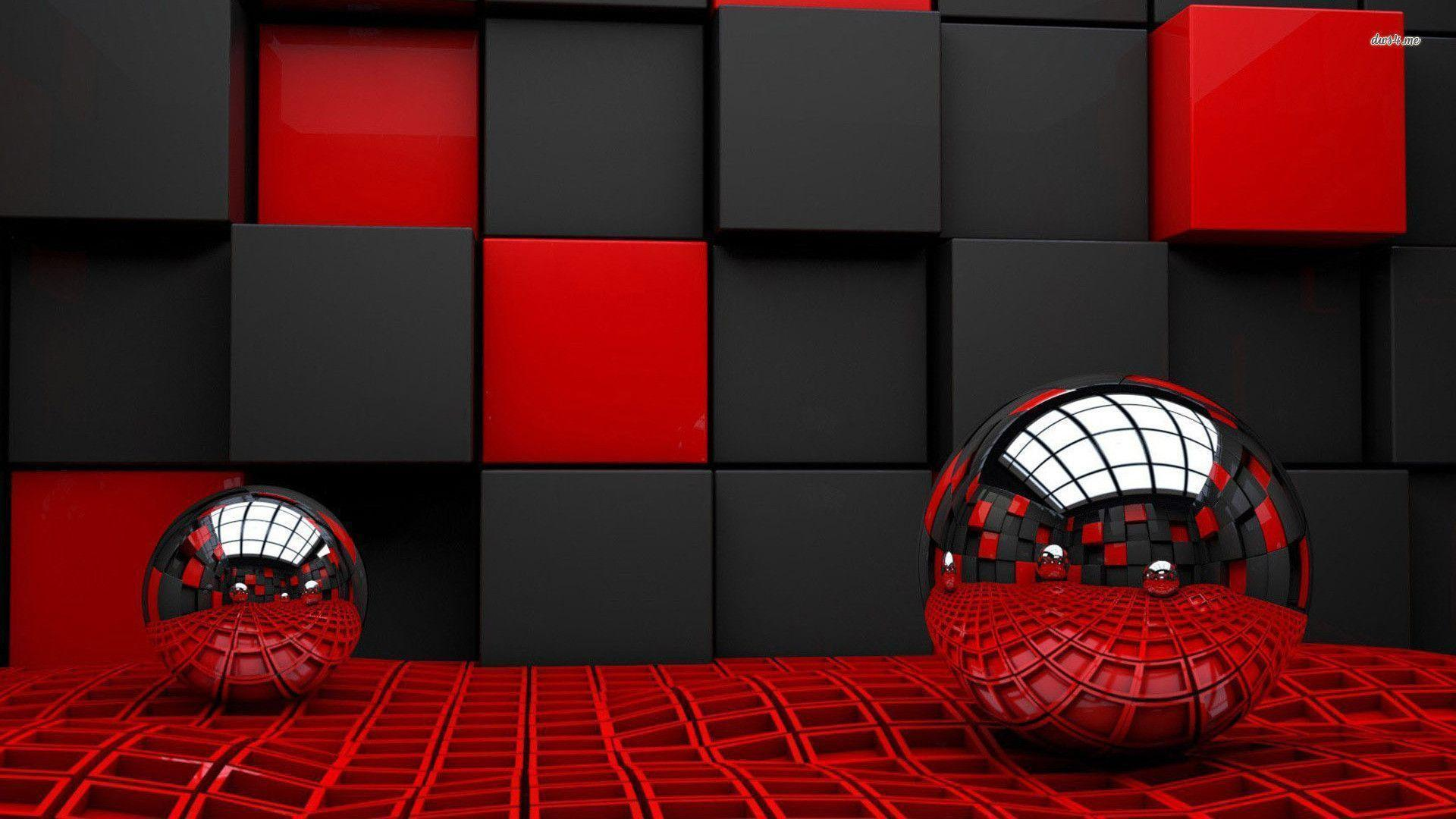 Metallic spheres reflecting the cube room wallpapers