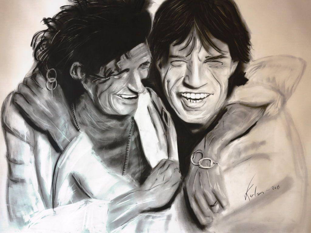 keith richards and mick jagger - charcoal drawing by Vegard73 on ...