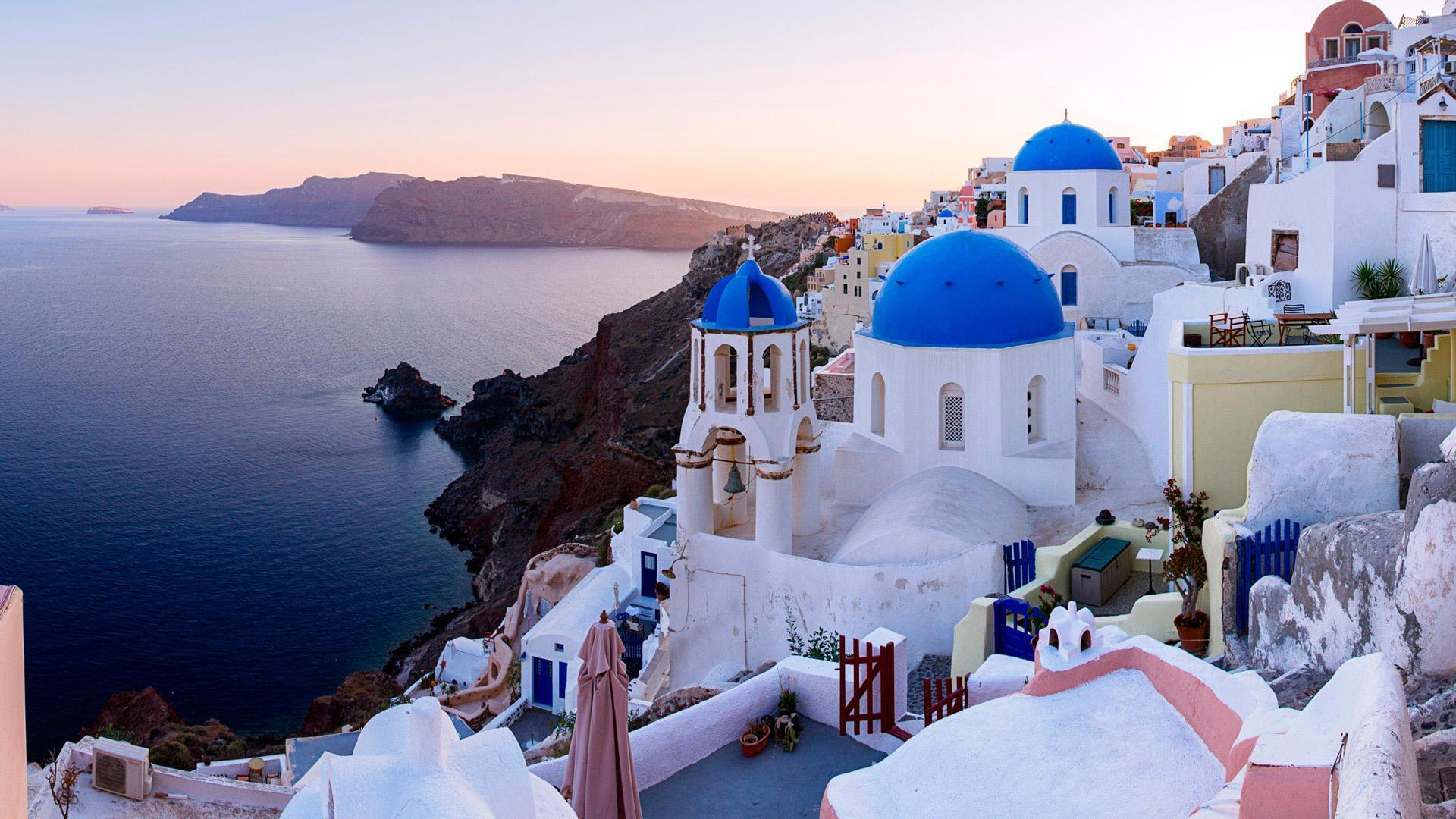 Town Oia, Santorini Island, Greece, HD Wallpapers
