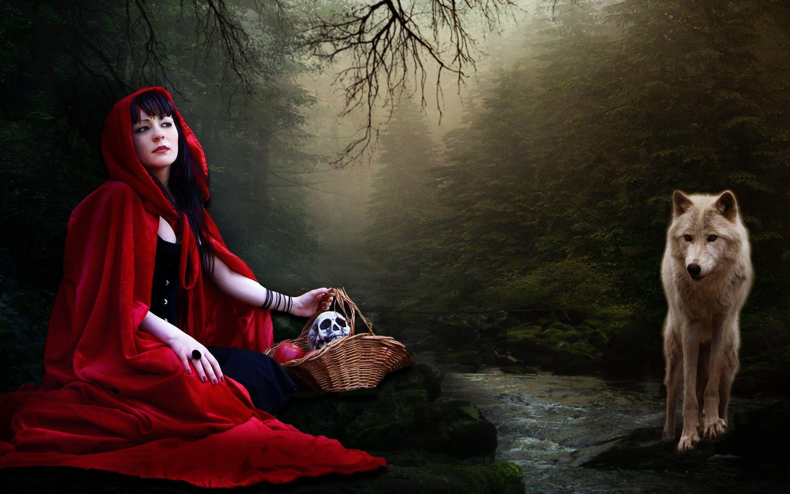 Funny The Little Red Riding Hood And Wolf Wallpaper 1680x1050 Px