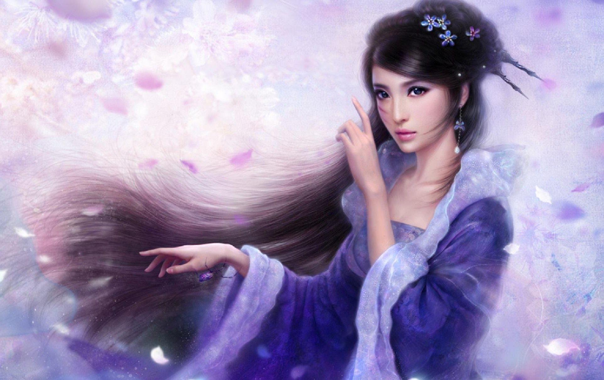 Fantasy Painting Brunette Blue Eyes