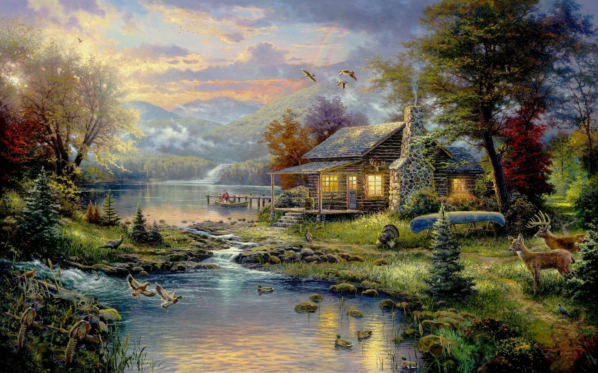 Thomas kinkade wallpapers wallpaper cave for House painting images
