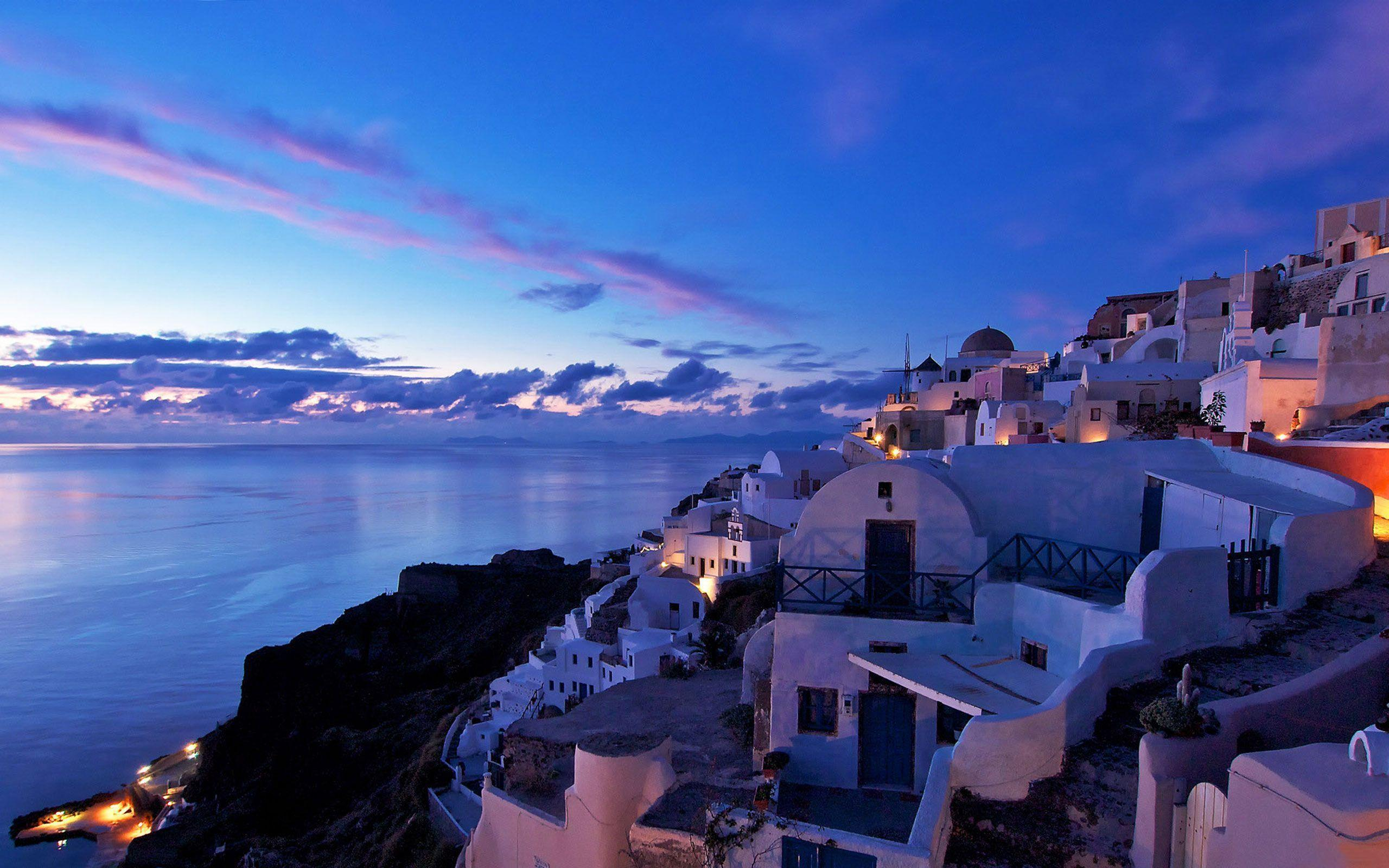 Santorini At Night HD Wallpapers