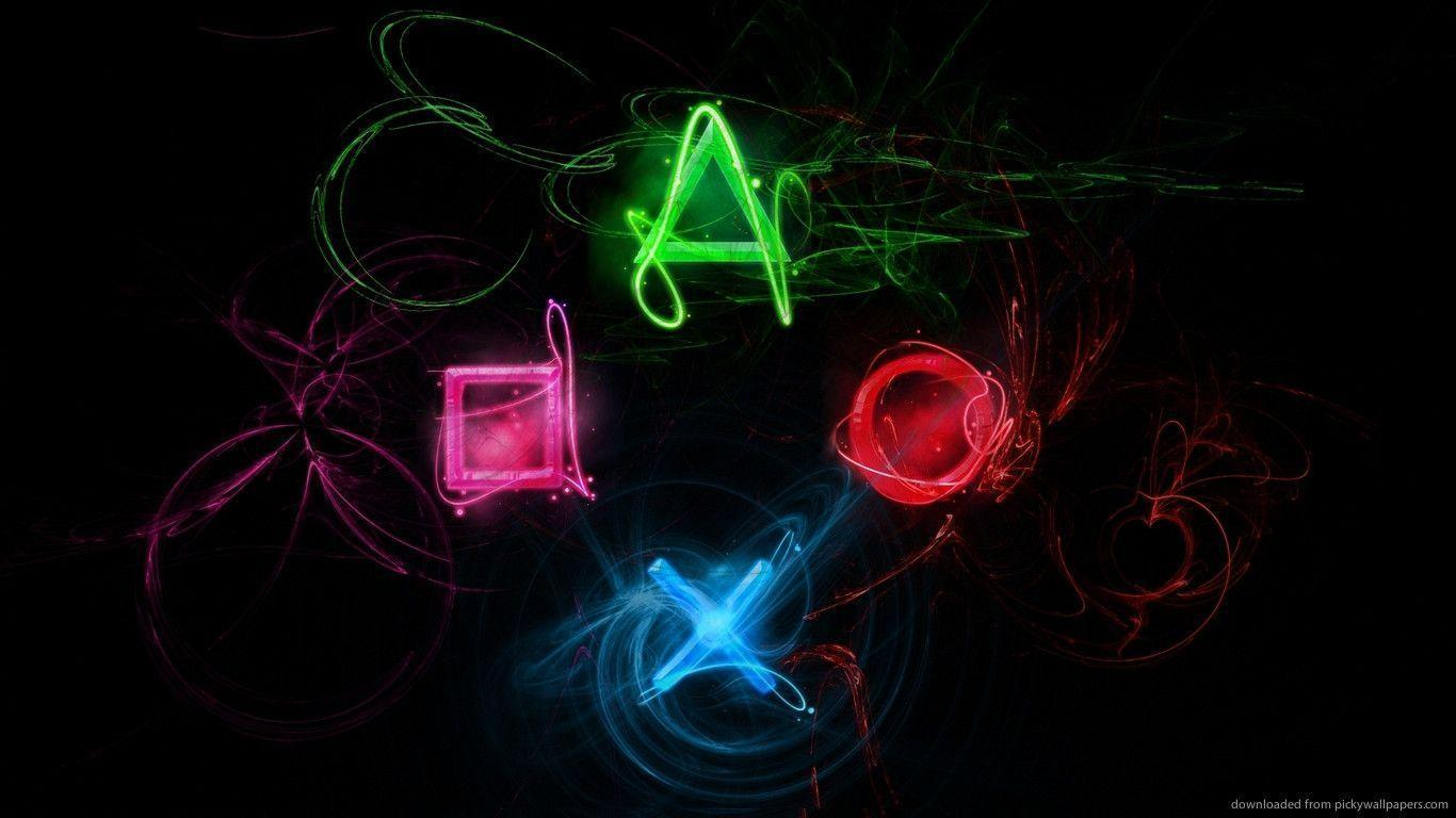 Download 1366x768 Playstation Control Symbols On Black 3 Wallpapers