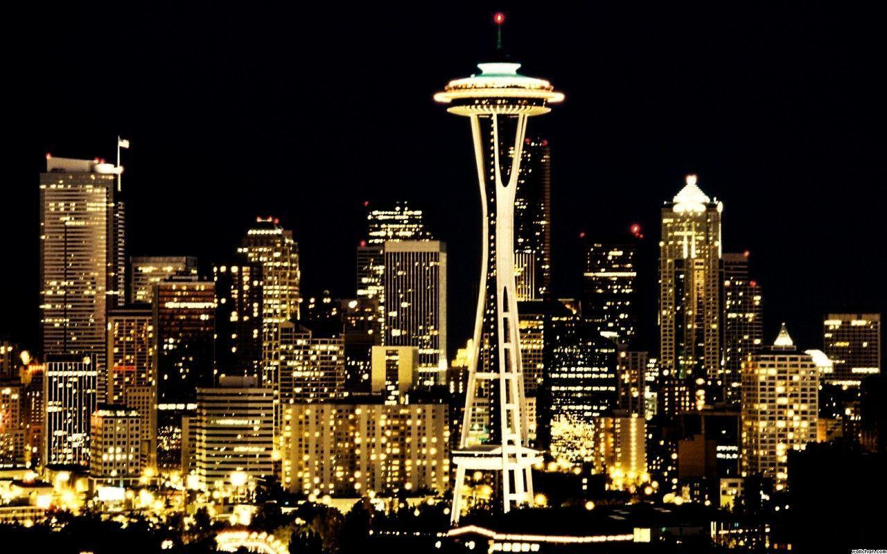 Pix For > Space Needle At Night
