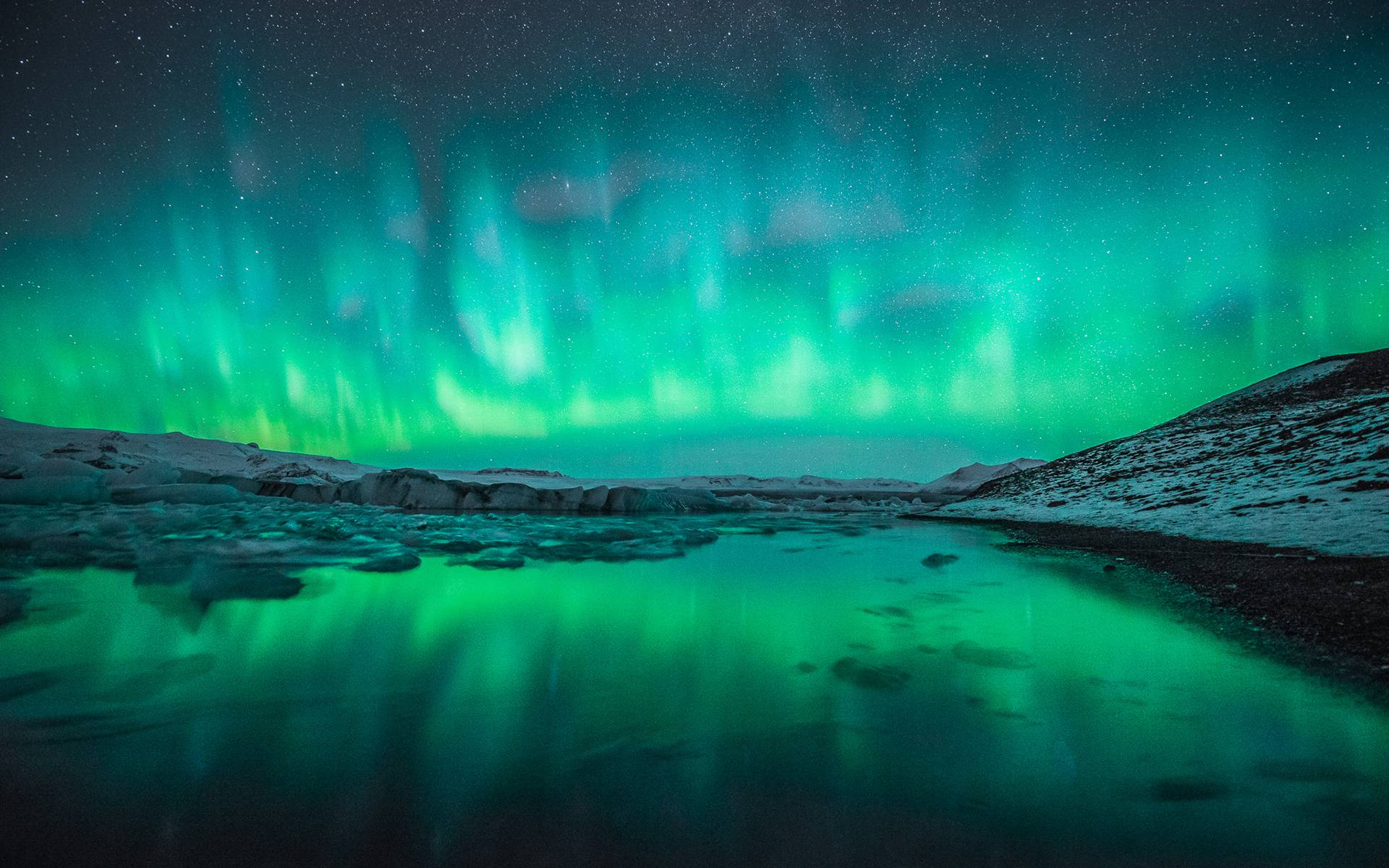 Wide Winter Snow Northern Lights Aurora Borealis Wallpapers HD 3271