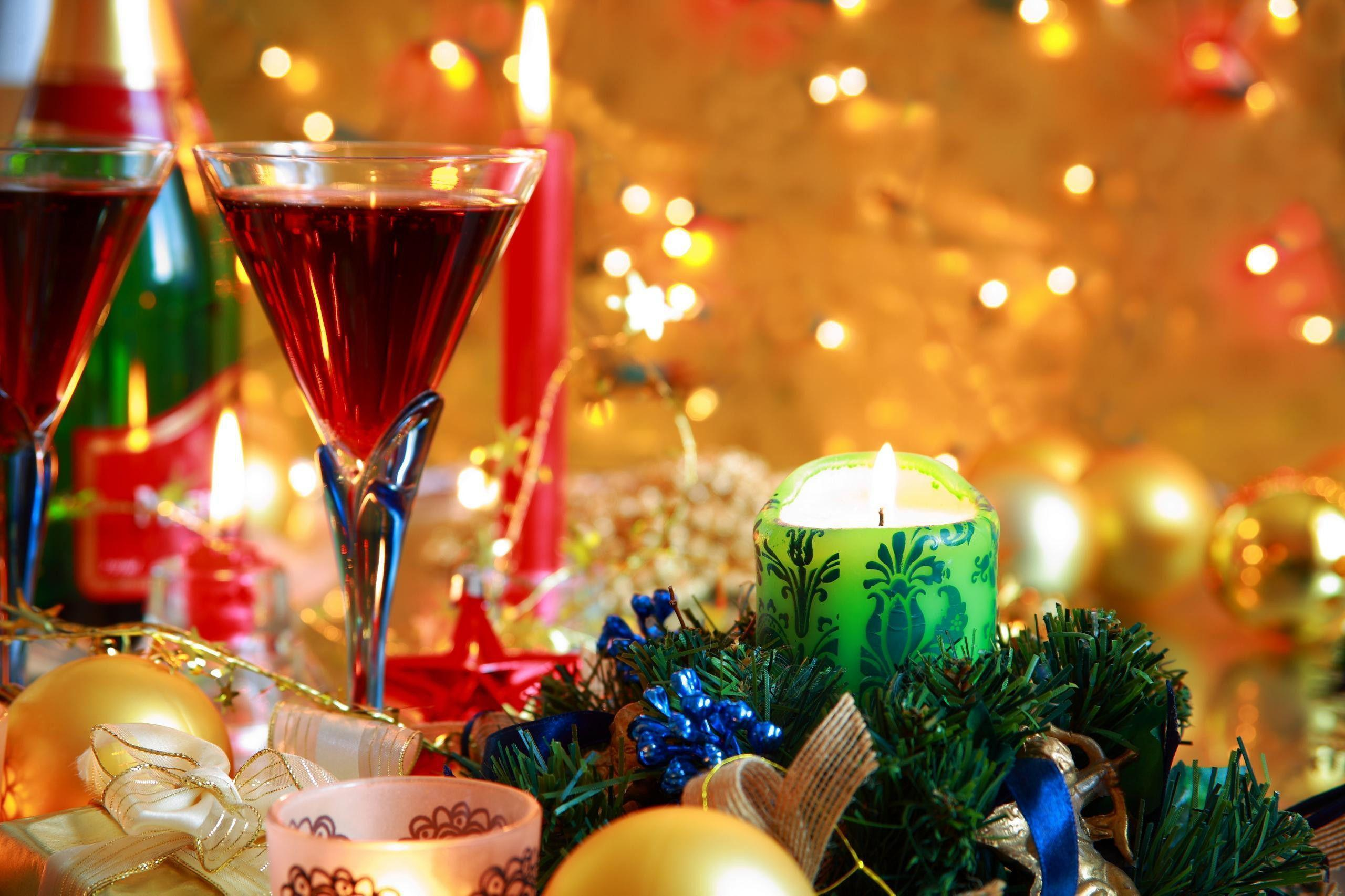 Wallpapers holiday, new year&eve, candles, champagne, glasses