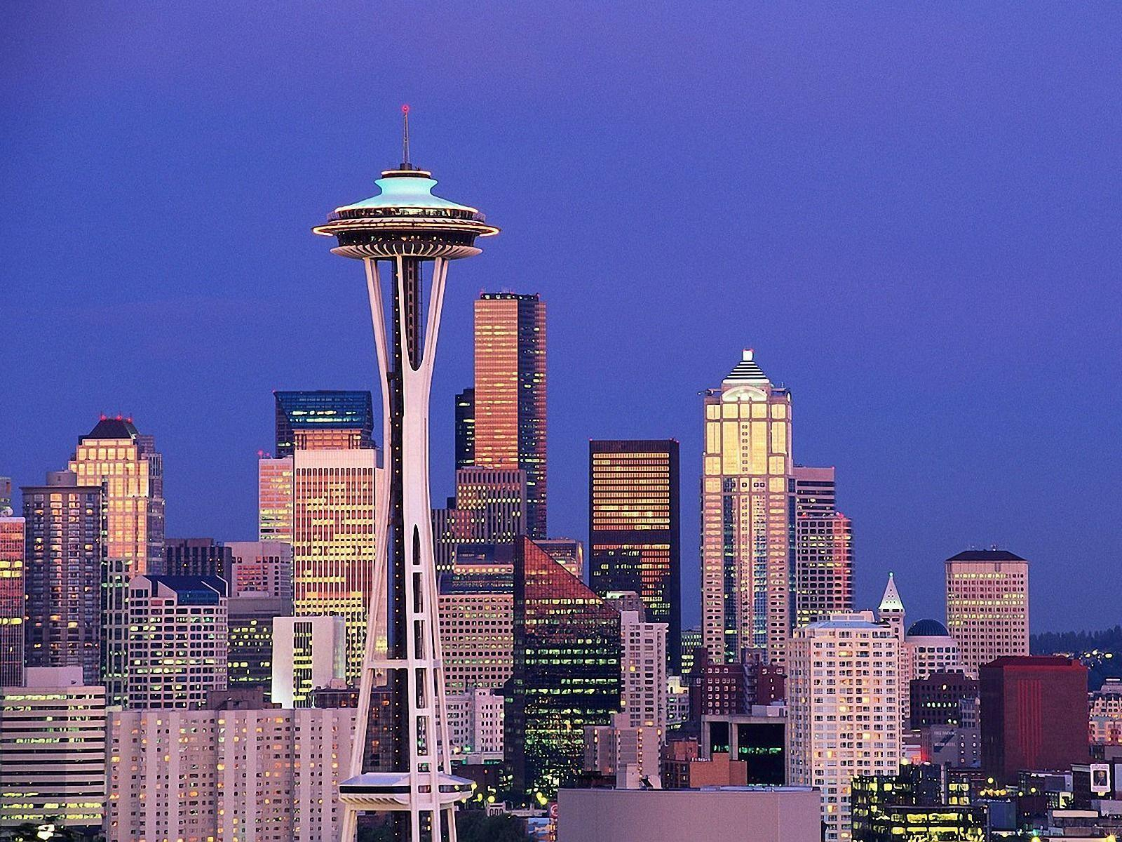 Seattle Washington Space Needle Sky Clouds Mountains Cities Wallpaper