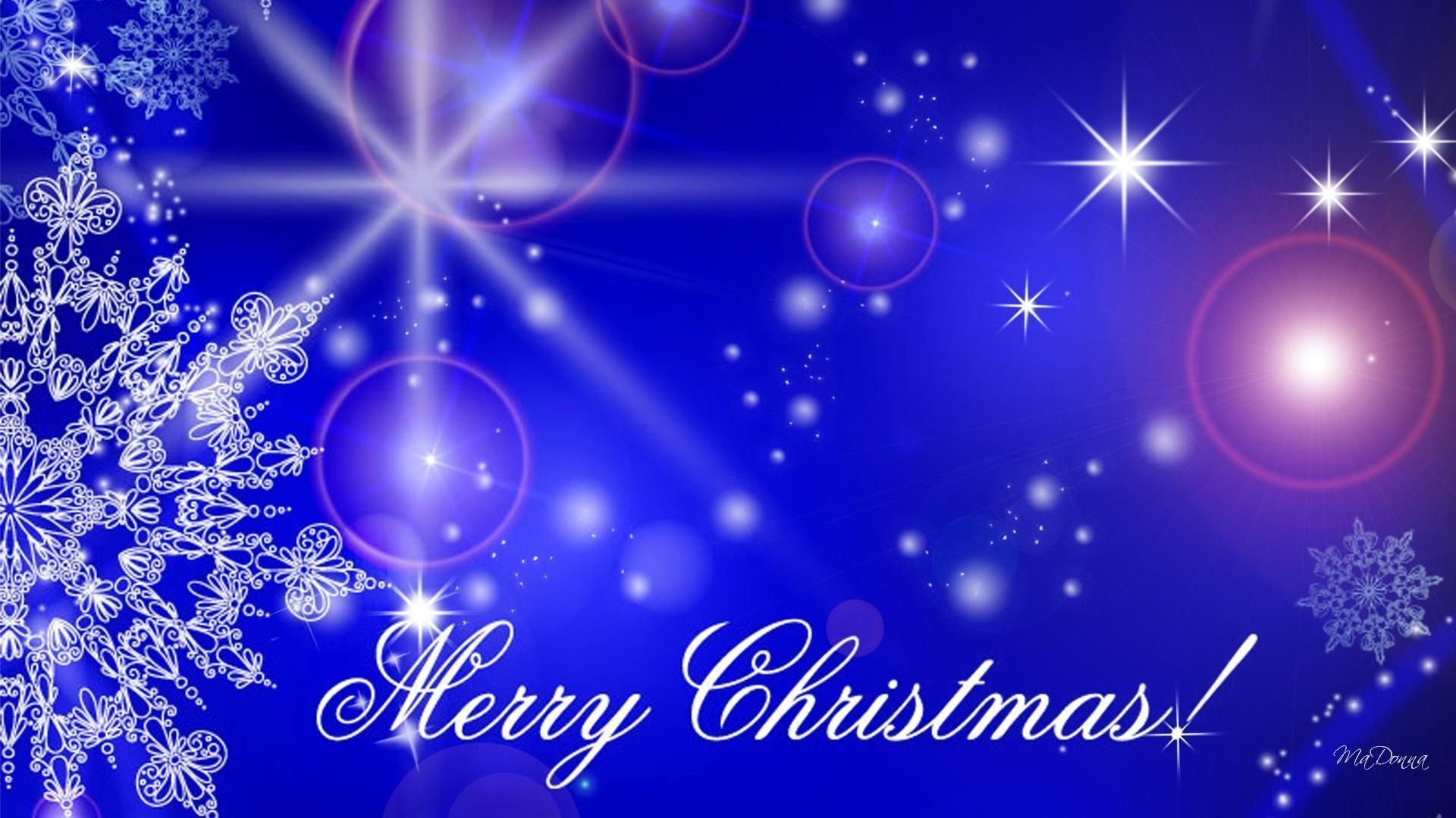 HD Blue Christmas Glowing Wallpaper