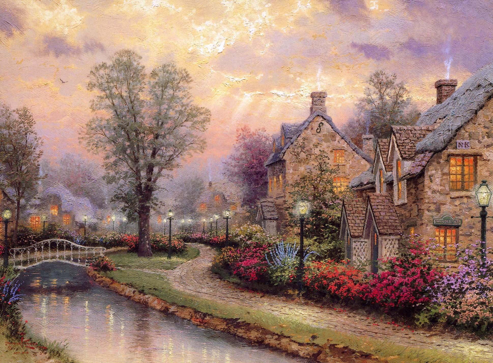 Free thomas kinkade wallpapers for desktop wallpaper cave - Art village wallpaper ...