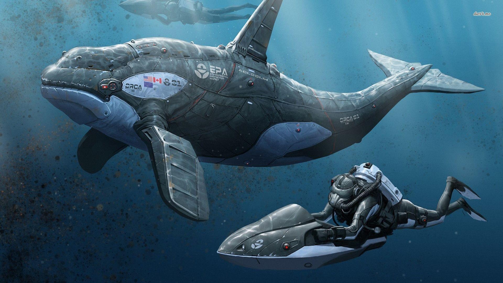 Divers and a robotic orca wallpaper - Fantasy wallpapers - #