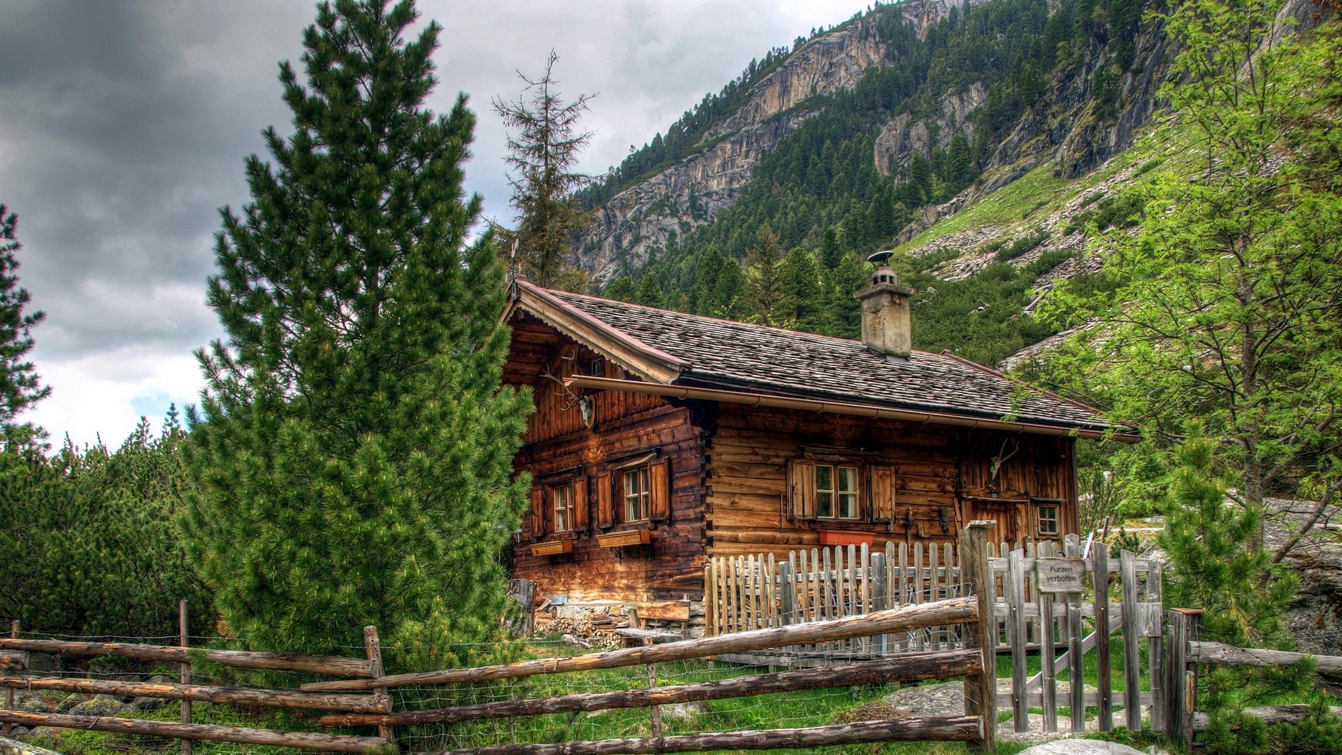 Log cabin in the woods painting - Hdr Log Cabin Wallpaper 18777 1920x1080 Px Freewallsource