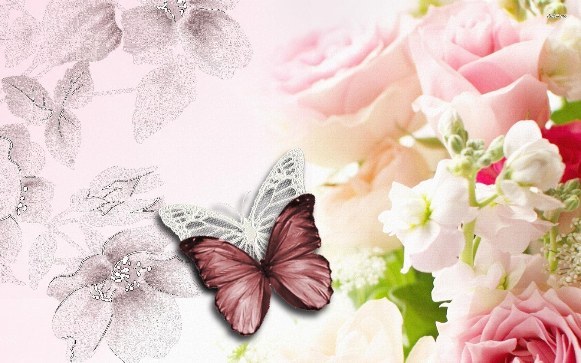 Butterfly and flower wallpapers wallpaper cave for Oregon craft floral