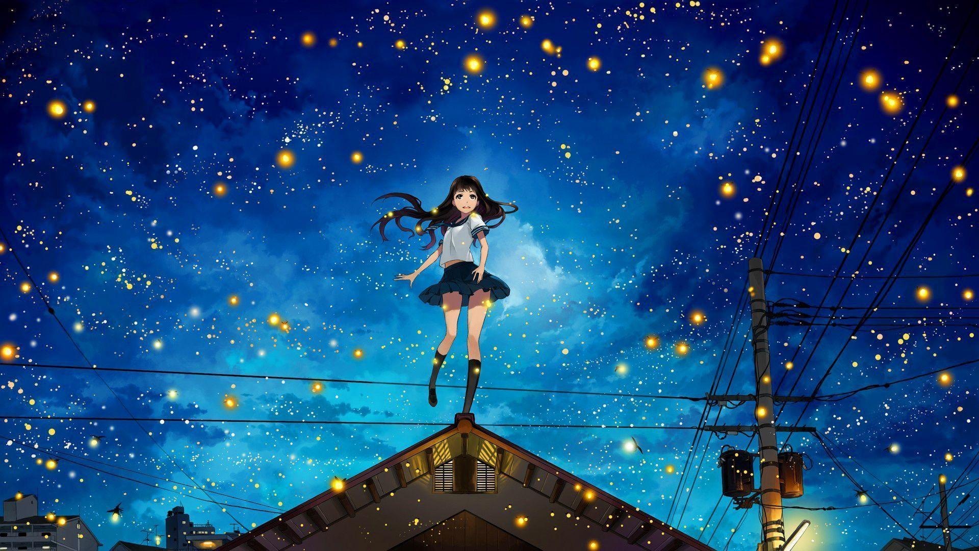 1920x1080 Anime Girl Fireflies Wallpaper