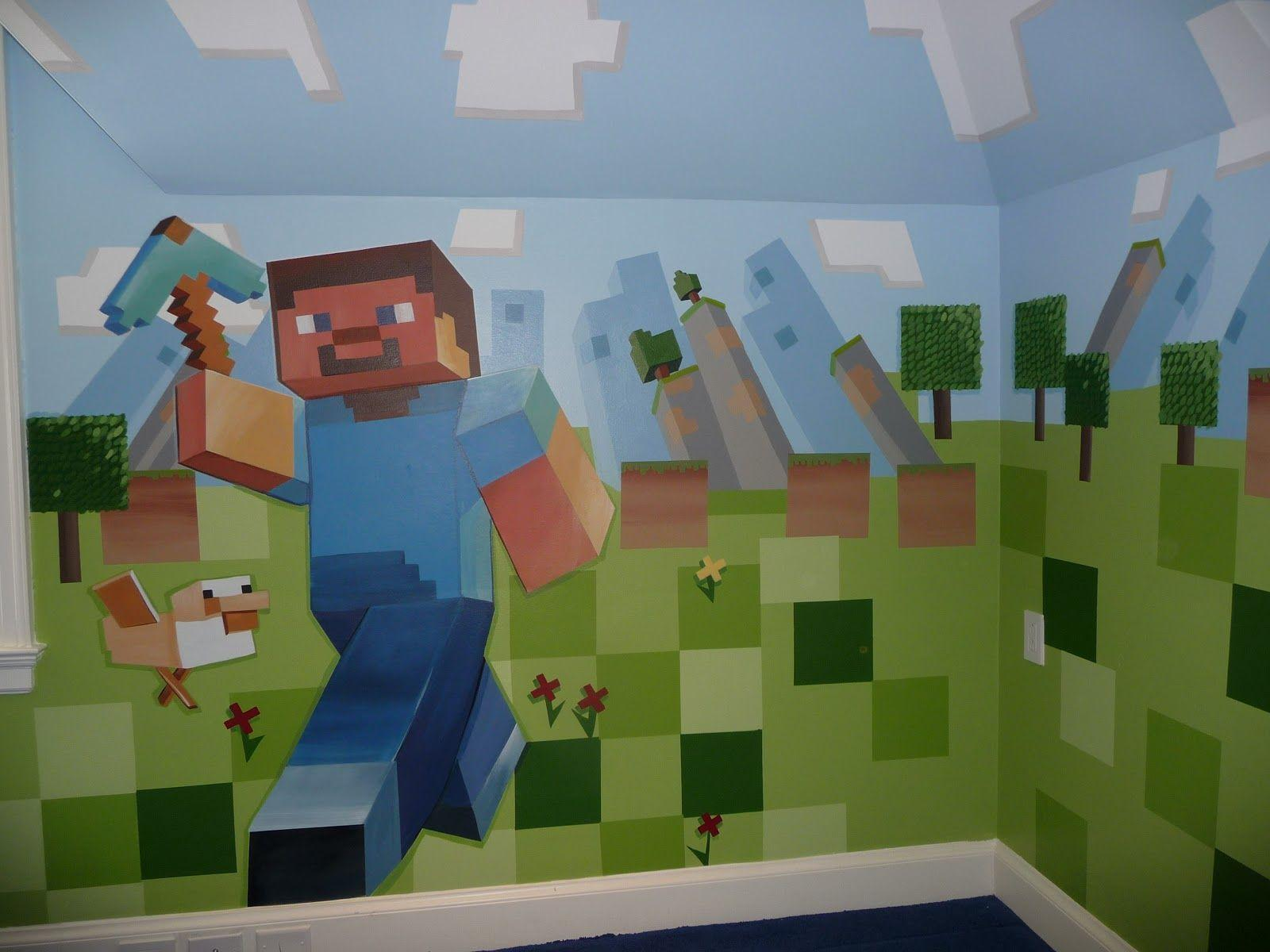 Minecraft Wall Decorations 28+ [ minecraft stickers for walls ] | huge minecraft mural 56 x