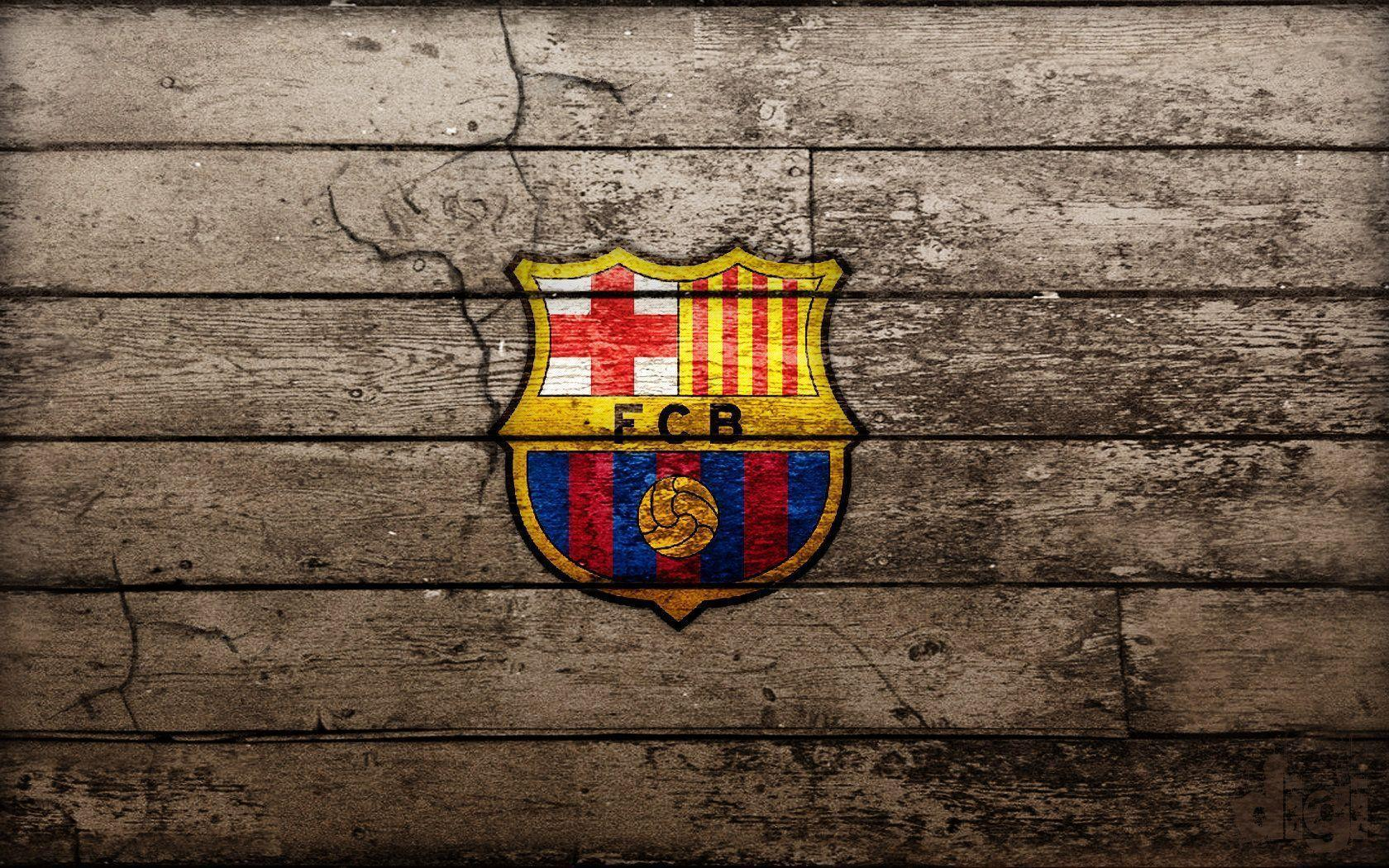 Fc Barcelona Logo With Wood Backgrounds