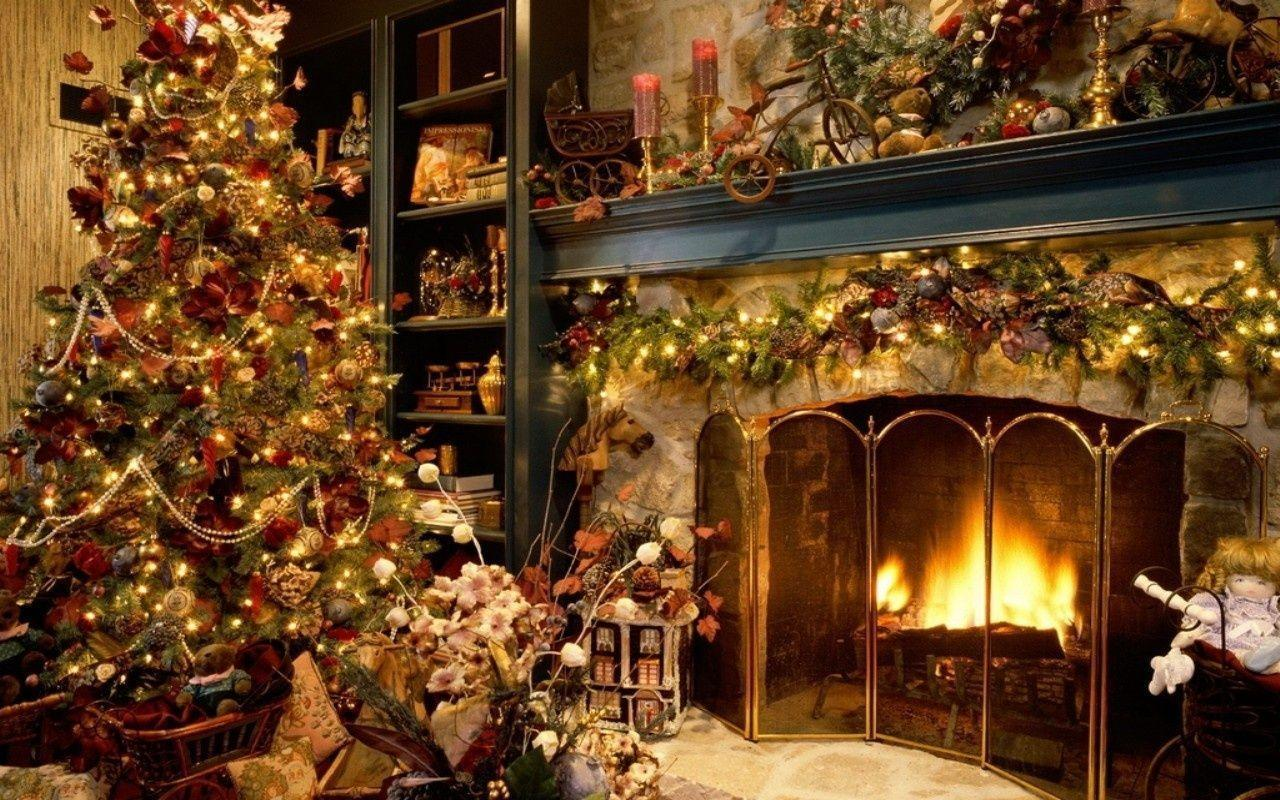 Wallpapers For > Christmas Fireplace Wallpapers