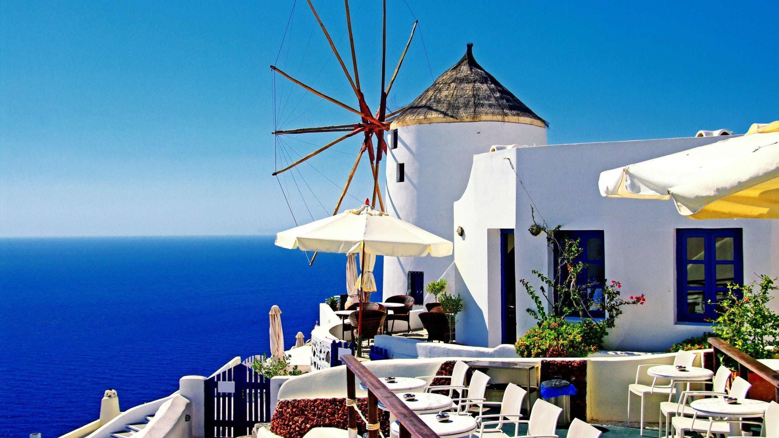 Small Town Oia Santorini Greece Widescreen Wallpapers
