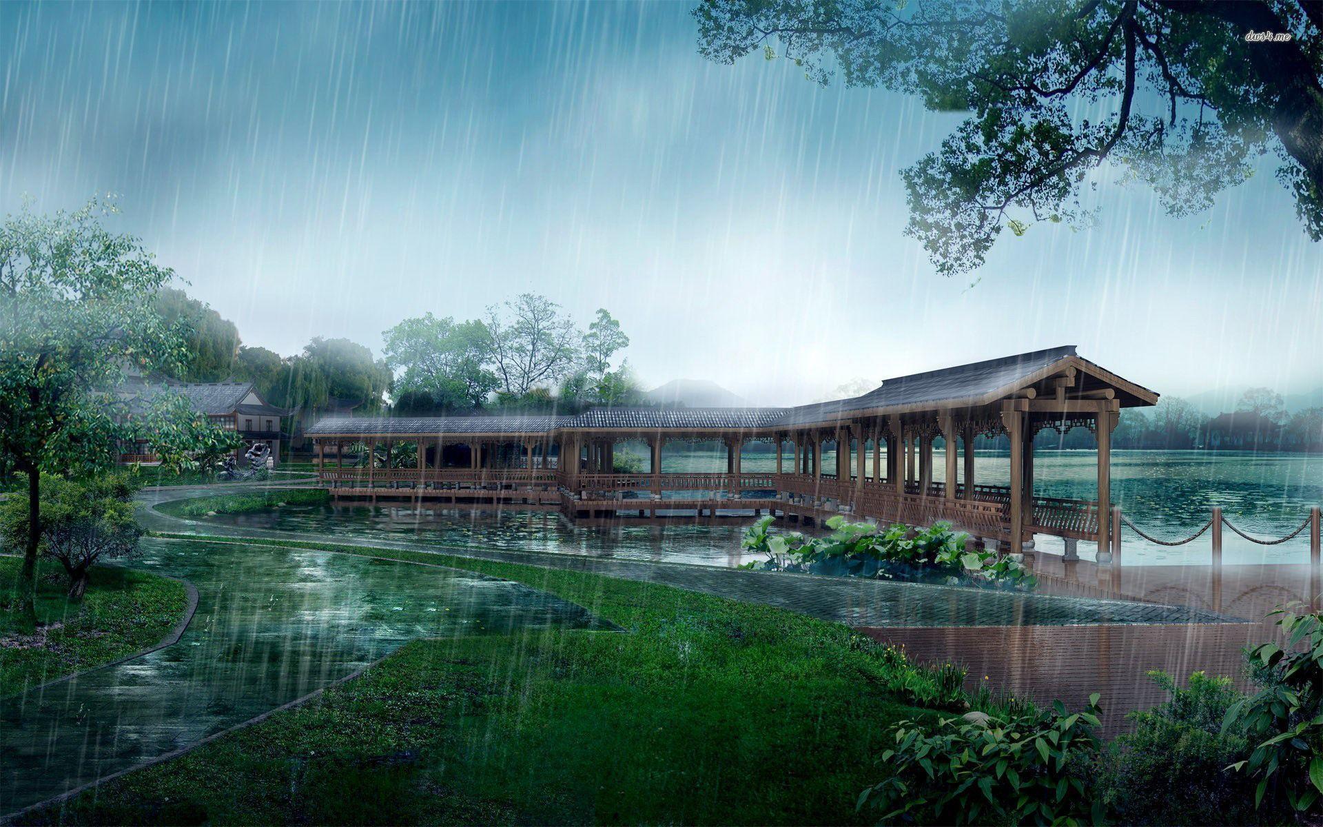 Rain over a japanese garden wallpaper - Fantasy wallpapers - #