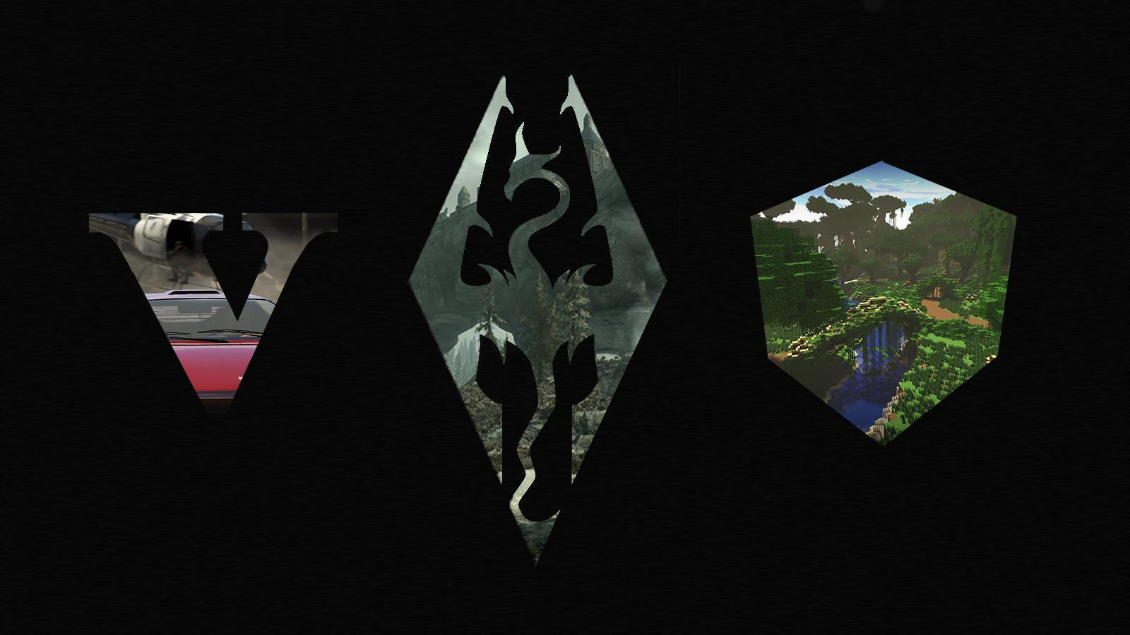 GTAV Skyrim Minecraft Wallpaper I Made 1600x900