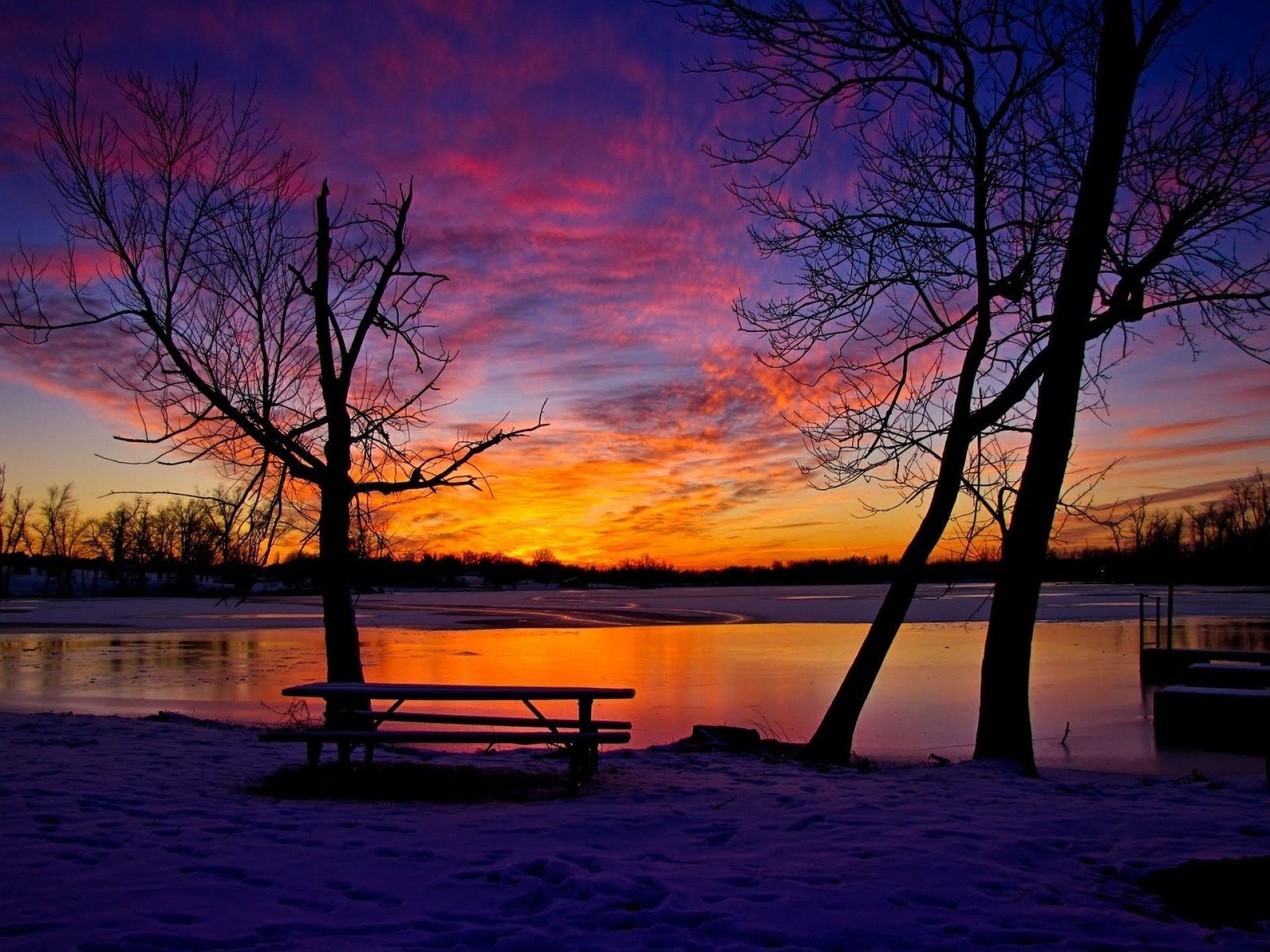 Nature Winter Sunset Photos 19767 Full HD Wallpaper Desktop