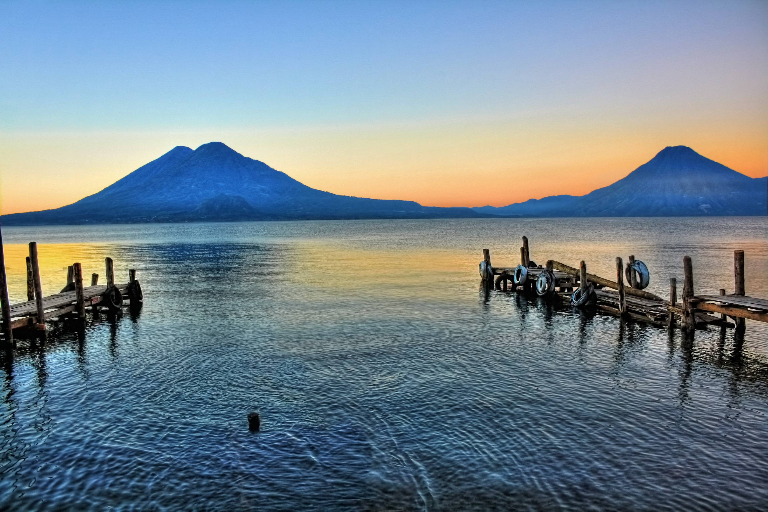 Download wallpapers lake, volcan, san pedro, guatemala free desktop