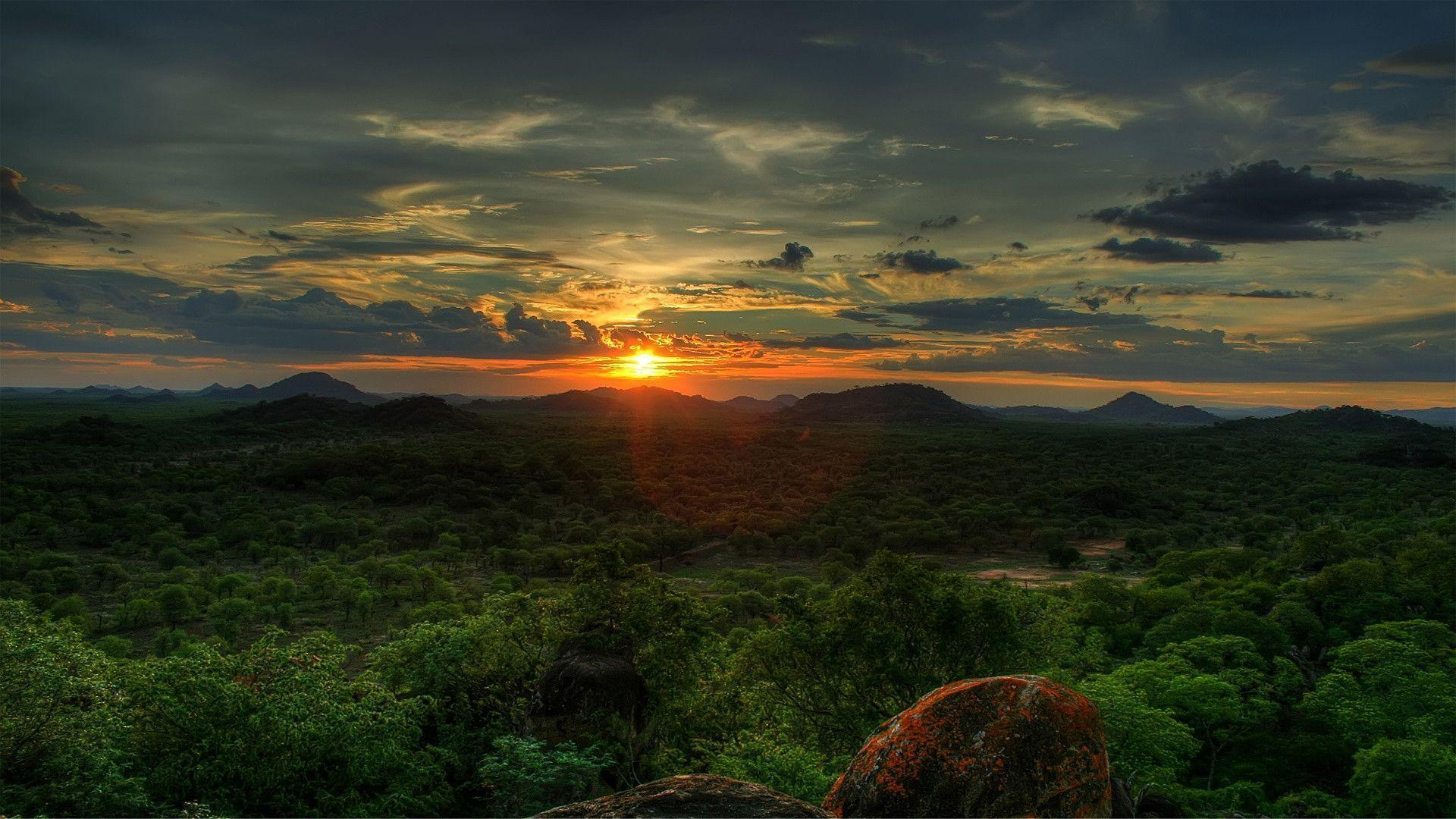 HD Sunset In Africa Wallpaper | Download Free - 64546