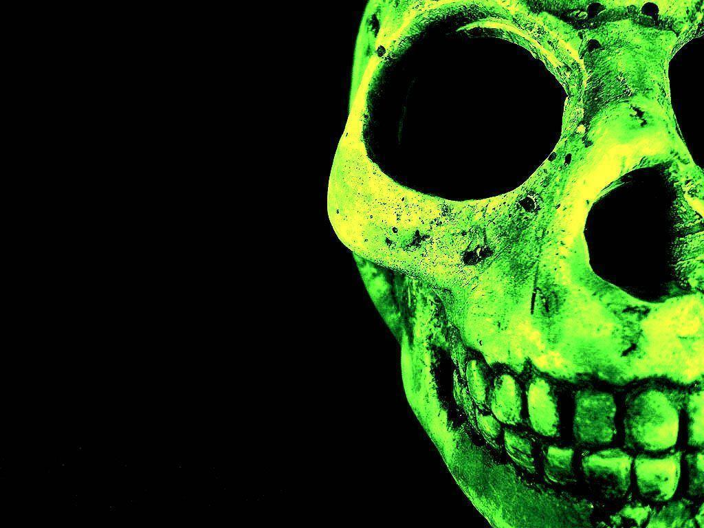 Wallpapers For > Green Flame Skull Wallpapers