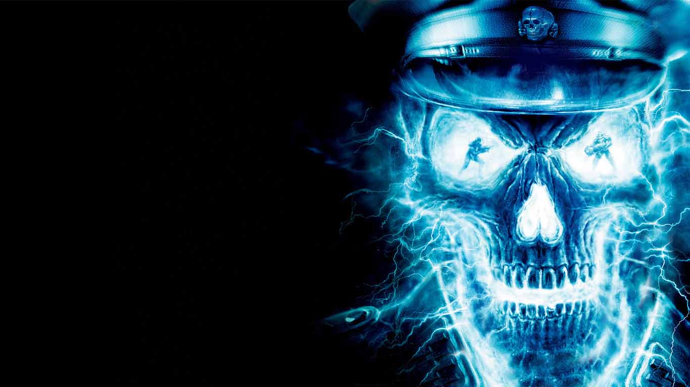 Digital Blue Fire Skull 3d Wallpapers