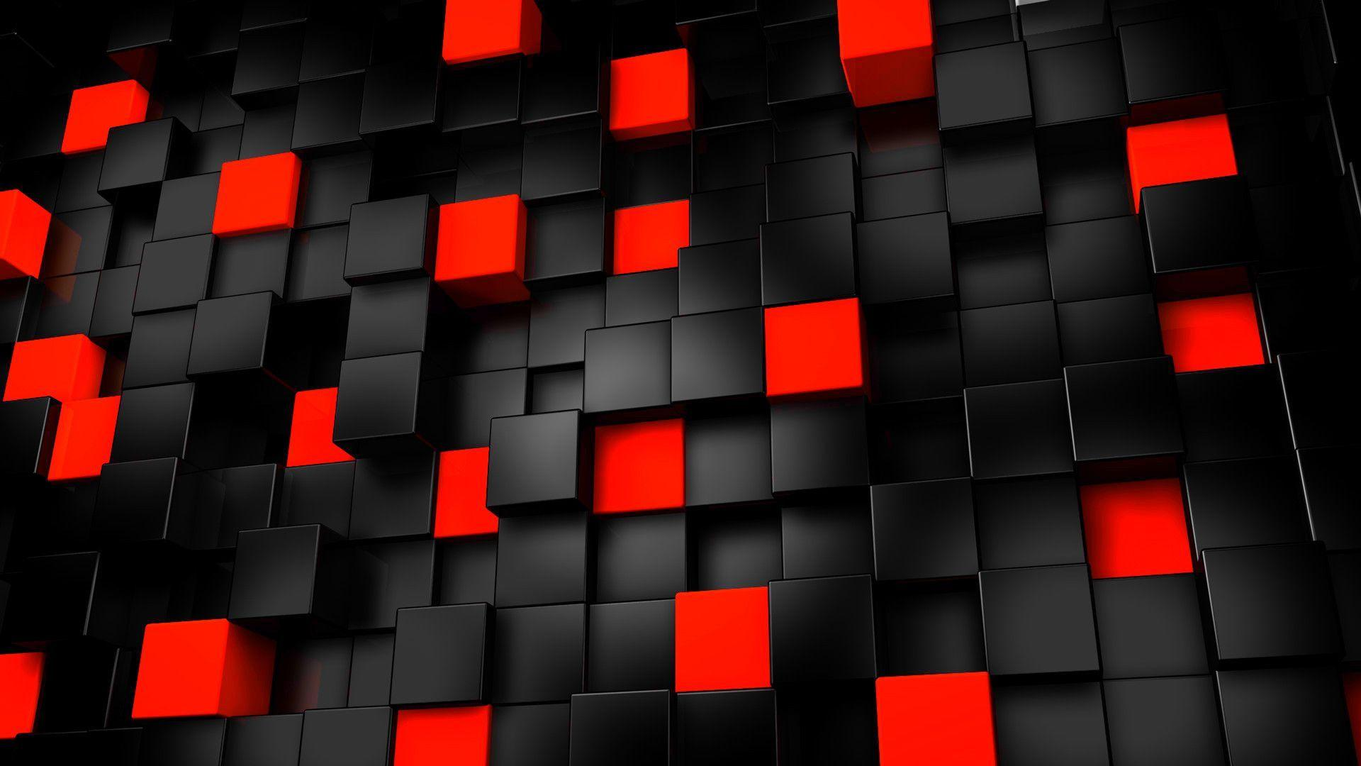 Abstract Black And Red Cubes Wallpapers, Fre Hd Wallpapers