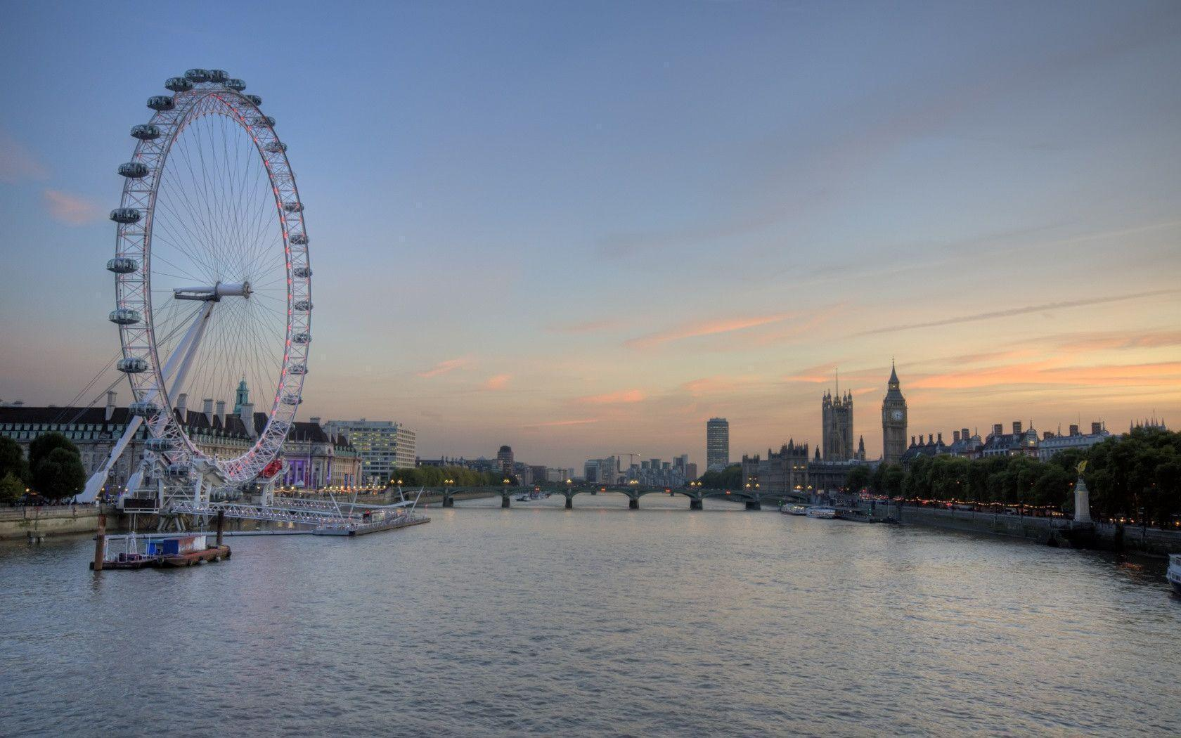1680x1050 London Eye and Big Ben desktop PC and Mac wallpaper