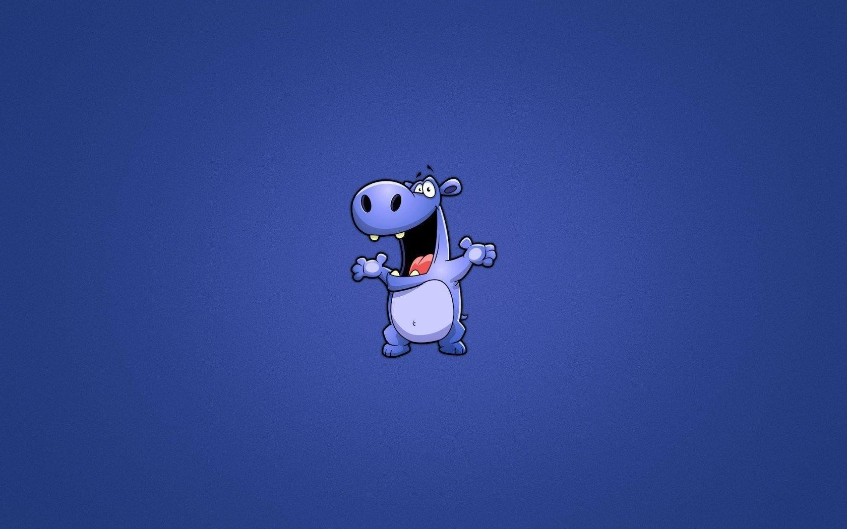 Blue Hippopotamus Funny Cartoon HD Wallpapers