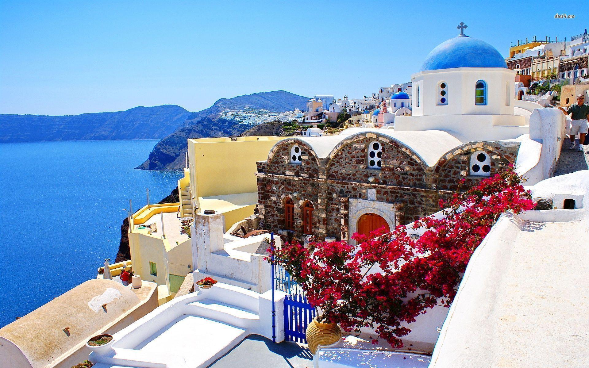 wallpaper santorini greece island - photo #2