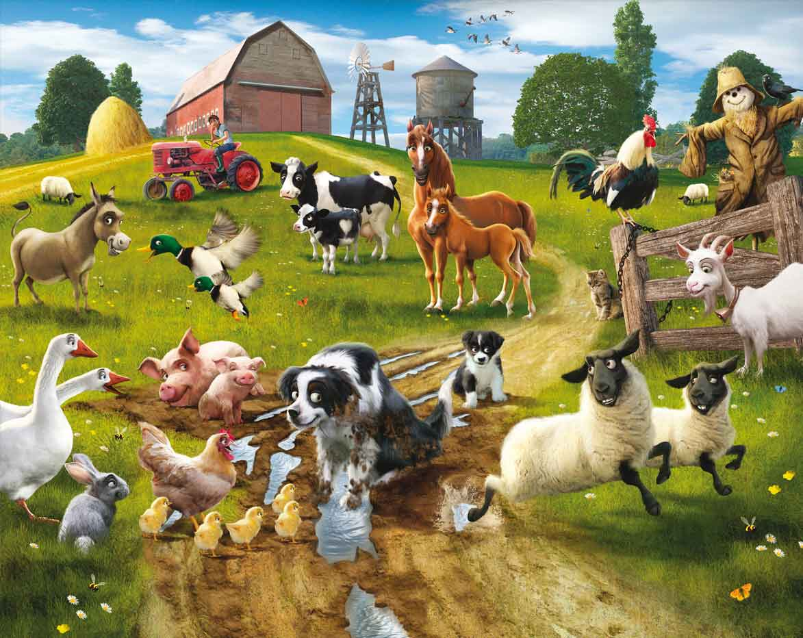Farm animals wallpapers wallpaper cave for Barnyard wall mural