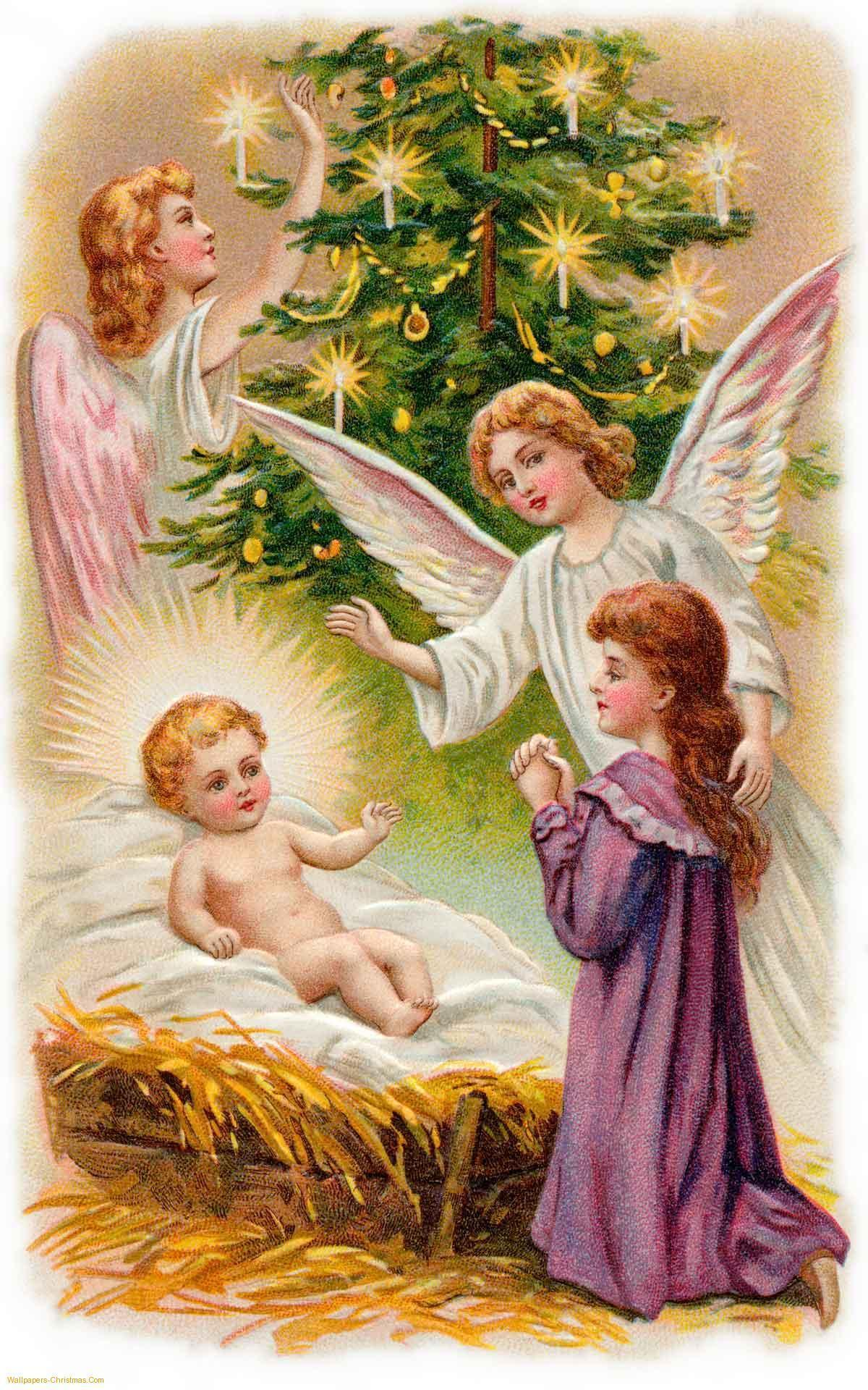 Jesus And Christmas Angels Wallpaper