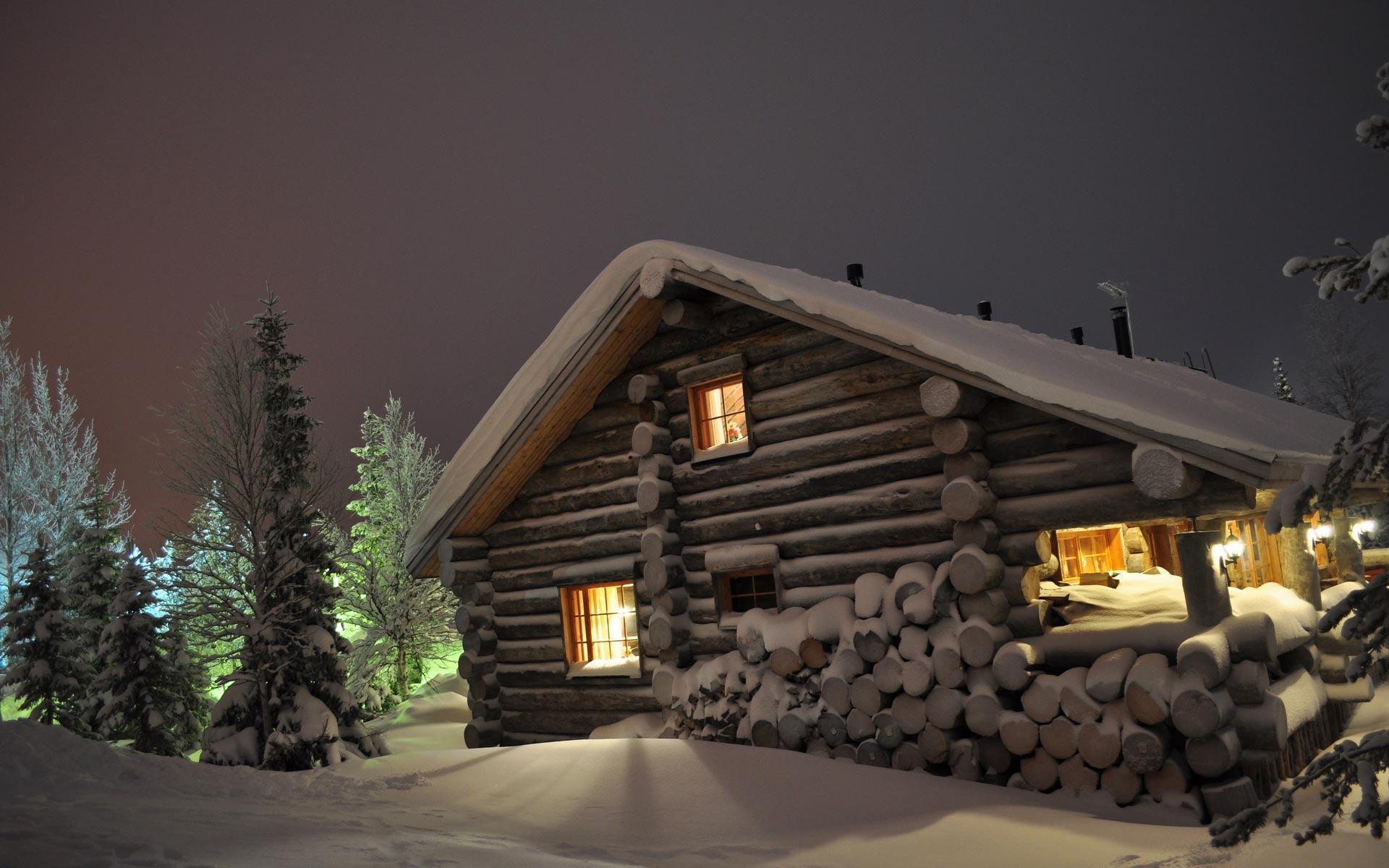 Winter cabin wallpapers wallpaper cave for Stili di log cabin