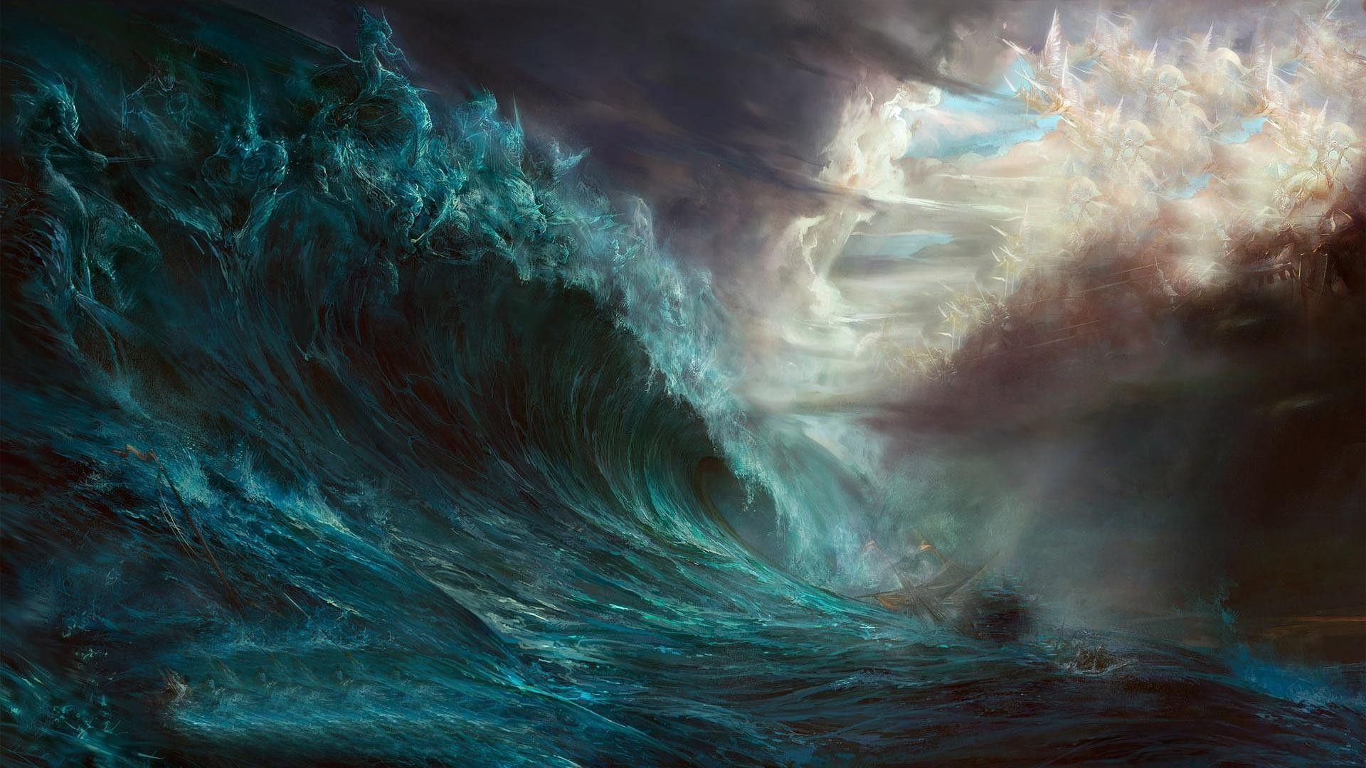 Pix For > Ship On A Stormy Sea Painting