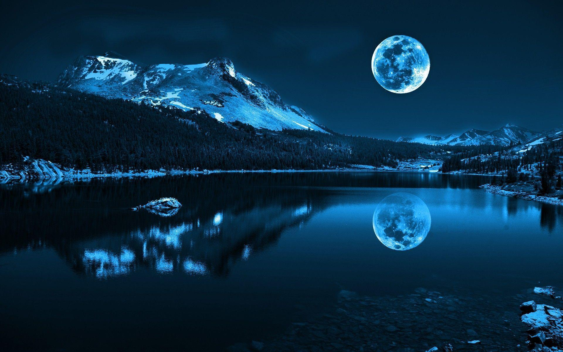 Moon Night Hd Wallpaper Freehdwalls 3dabstract Images
